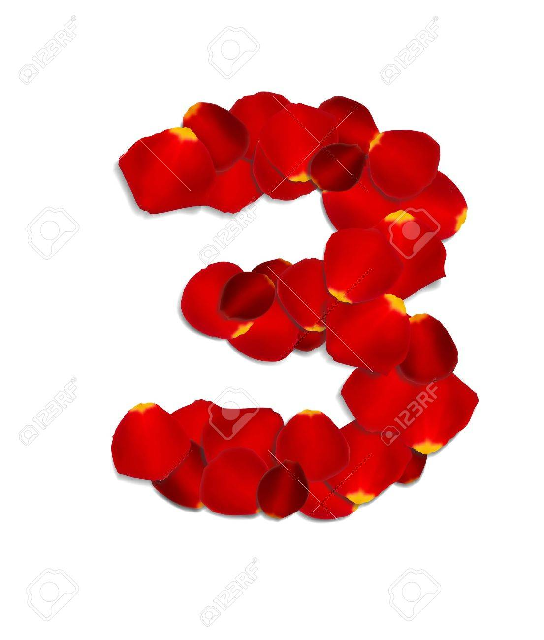 Number 3 made from red rose petals Stock Vector - 17559809