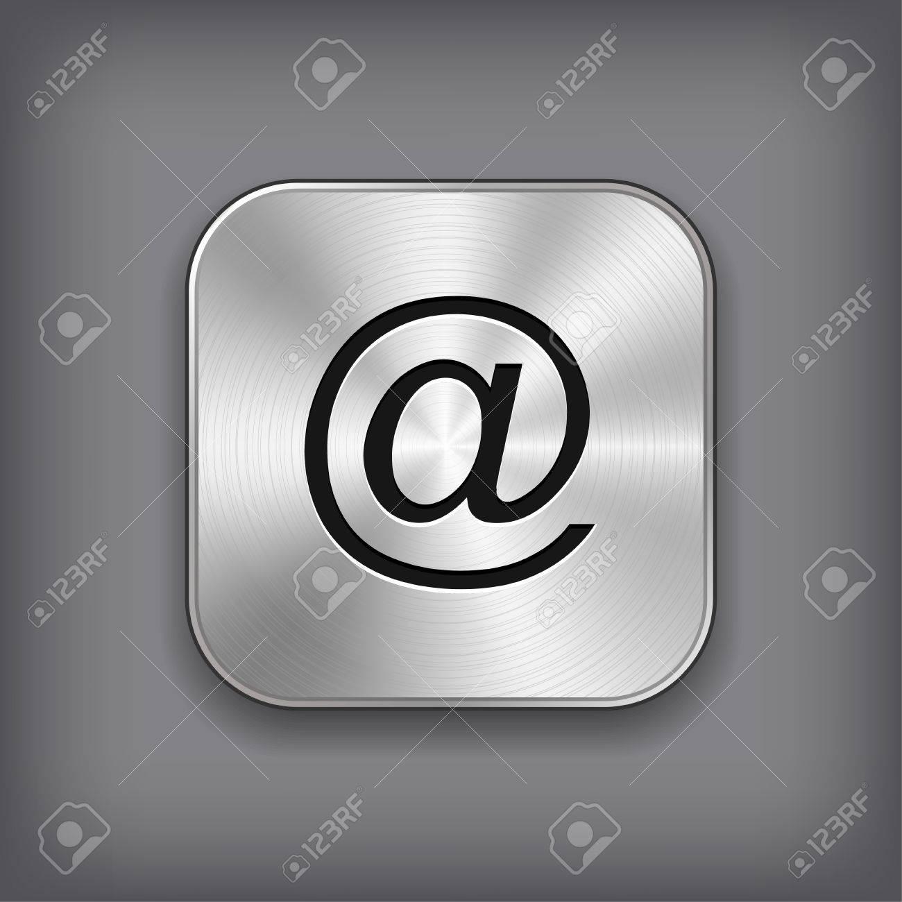 Mail icon - vector metal app button Stock Vector - 18226144