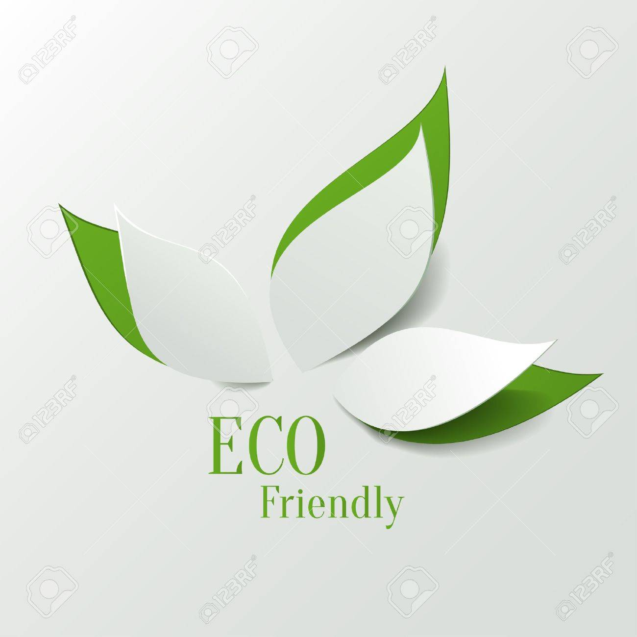 Green eco friendly background - abstract paper leaves Stock Vector - 19146192