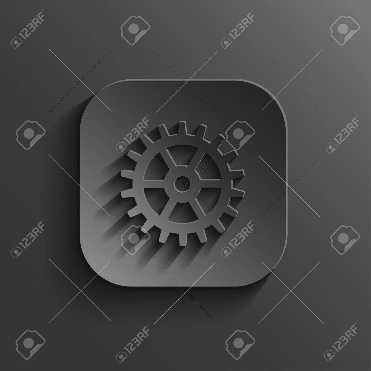 Gear icon - vector black app button Stock Vector - 20988968