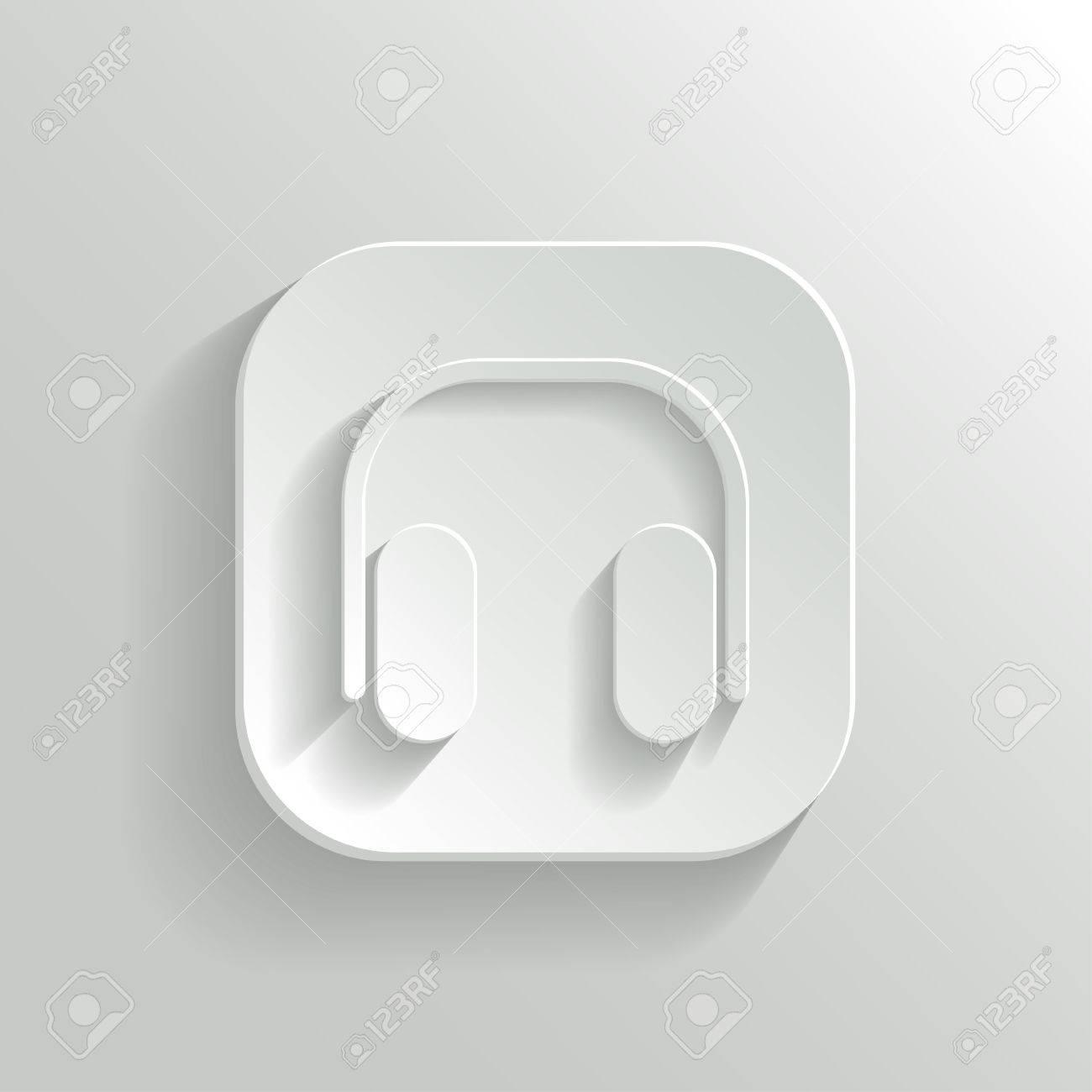 Headphones icon - vector white app button with shadow Stock Vector - 20989085