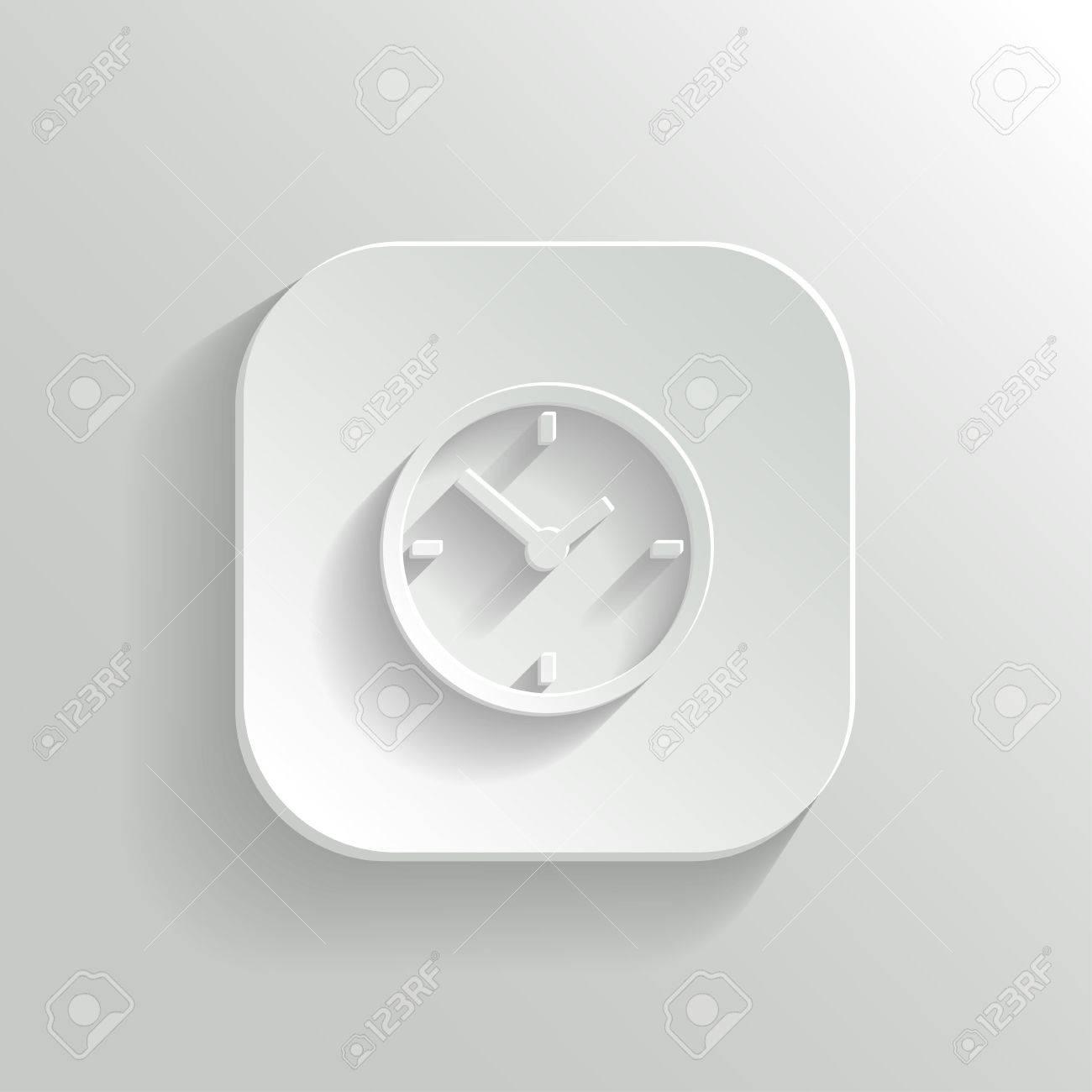 Clock icon - vector white app button with shadow Stock Vector - 22406029