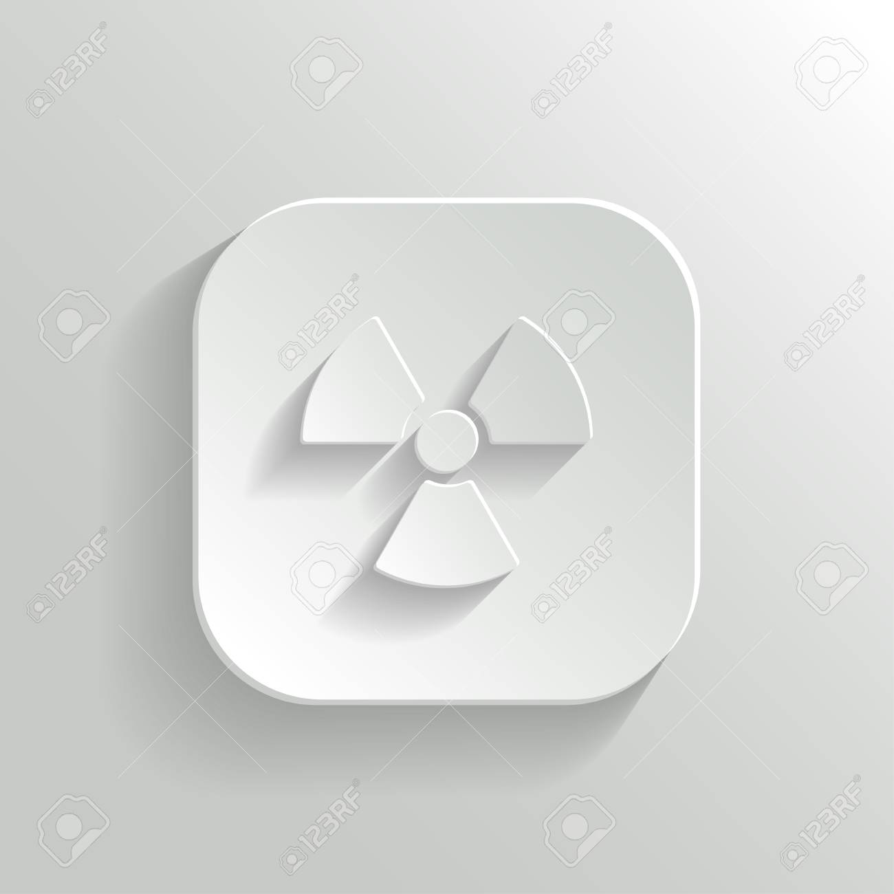 Radioaktivity icon - vector white app button with shadow Stock Vector - 25041227