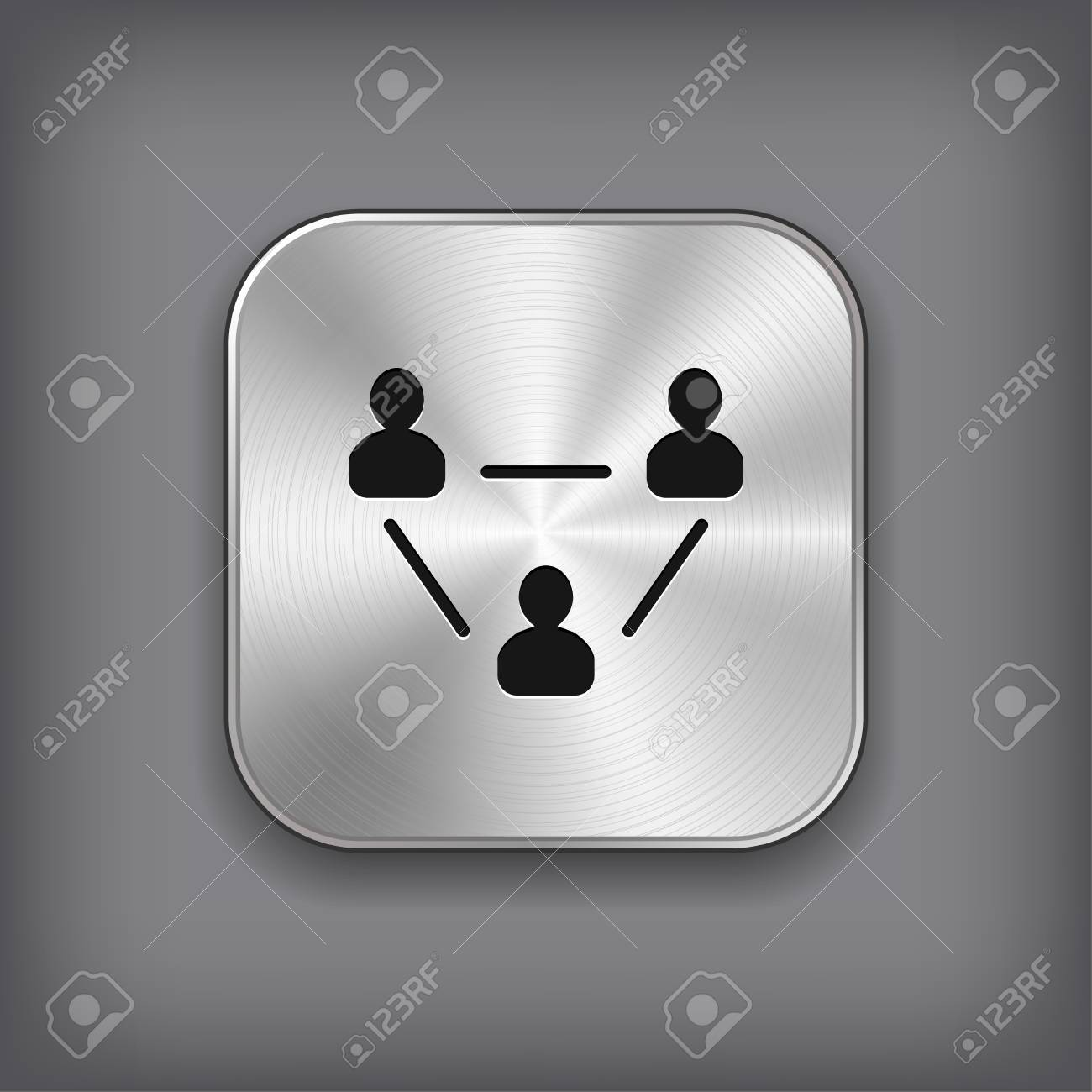User group network icon - vector metal app button with shadow Stock Vector - 25653156