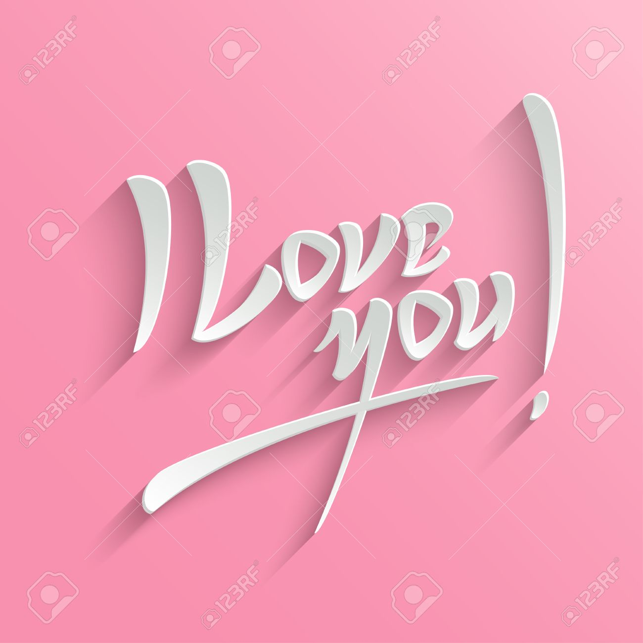 i love you hand lettering greeting card typographical vector