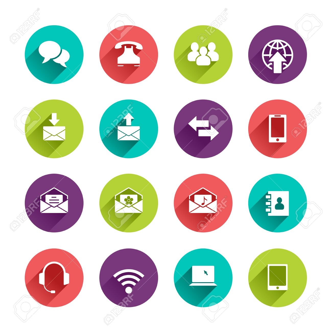 phone email icon vector. vector web icons set in flat design with long shadows on circle buttons speech bubble phone email icon