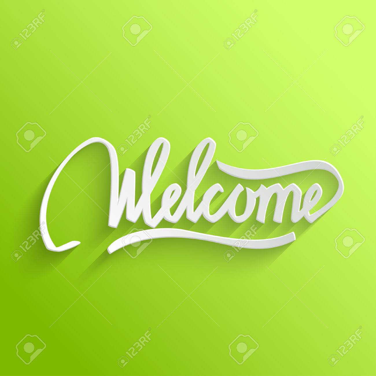 Welcome hand lettering green greeting card typographical background vector welcome hand lettering green greeting card typographical background handmade calligraphy m4hsunfo