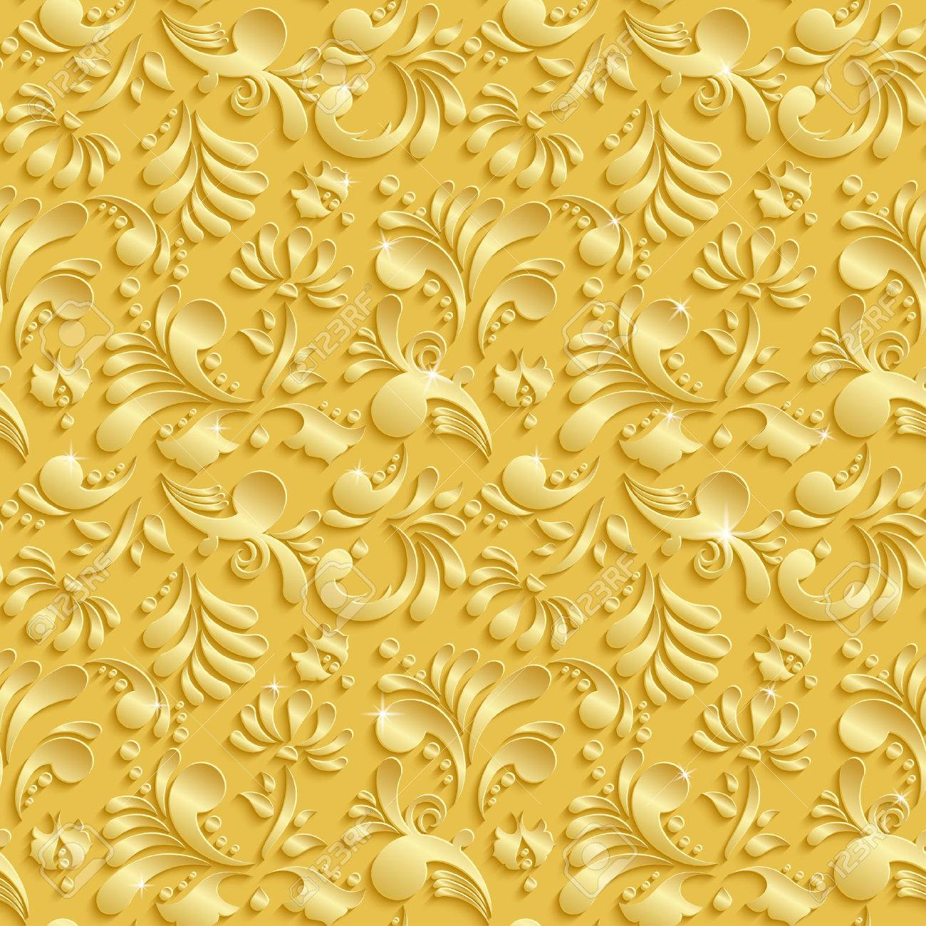 Abstract floral 3d golden background vector seamless pattern abstract floral 3d golden background vector seamless pattern trendy design template for christmas and stopboris Images