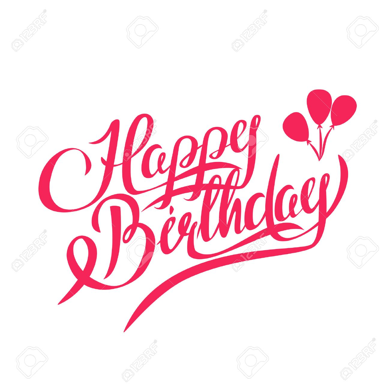 happy birthday vector lettering handmade calligraphy design