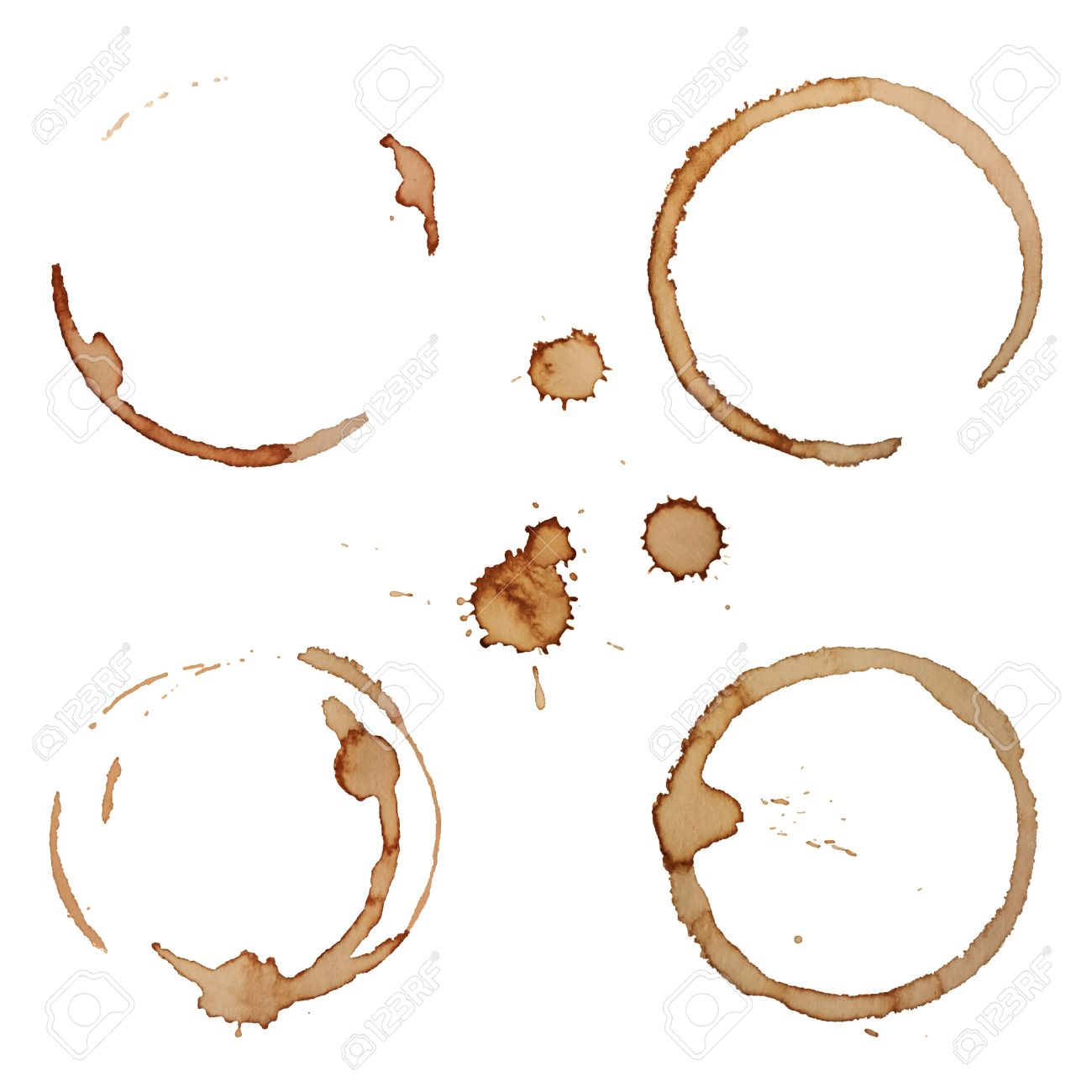 Vector Coffee Stain Rings Set Isolated On White Background for Grunge Design - 35378180