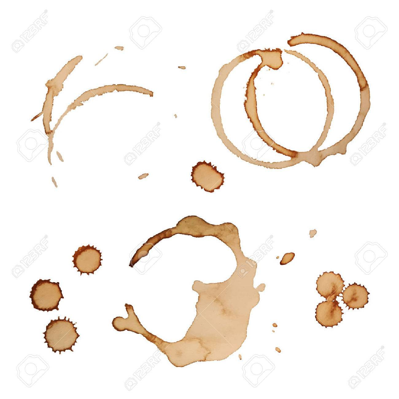 Vector Coffee Stain Rings Set Isolated On White Background for Grunge Design - 35378186