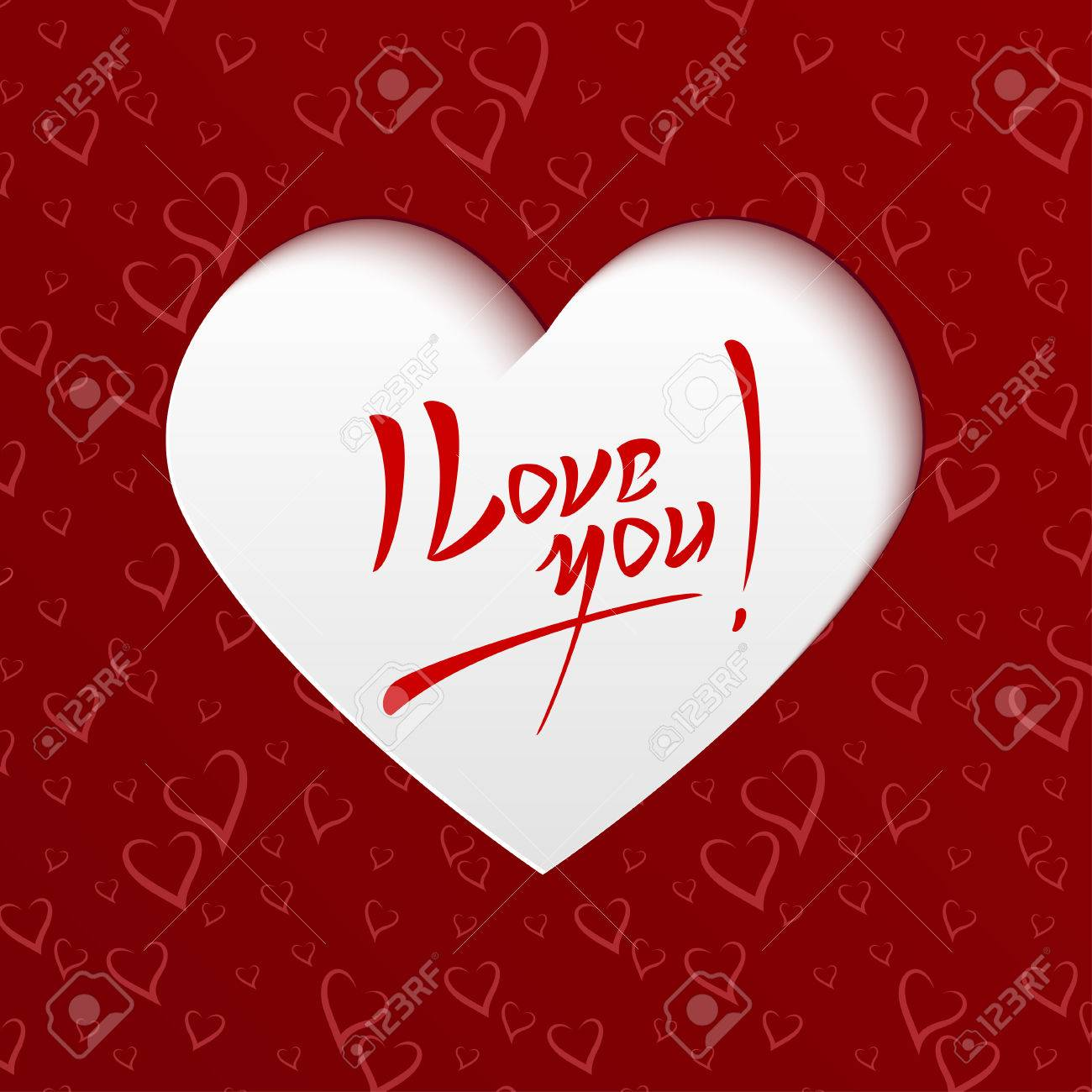 I Love You Valentines Day Hand Lettering Greeting Card On Paper