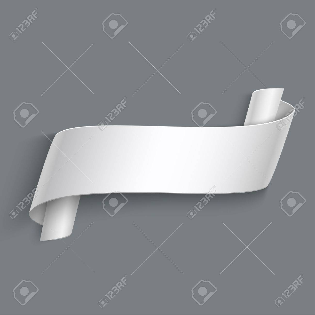 vector 3d curved paper banner isolated on grey background easy