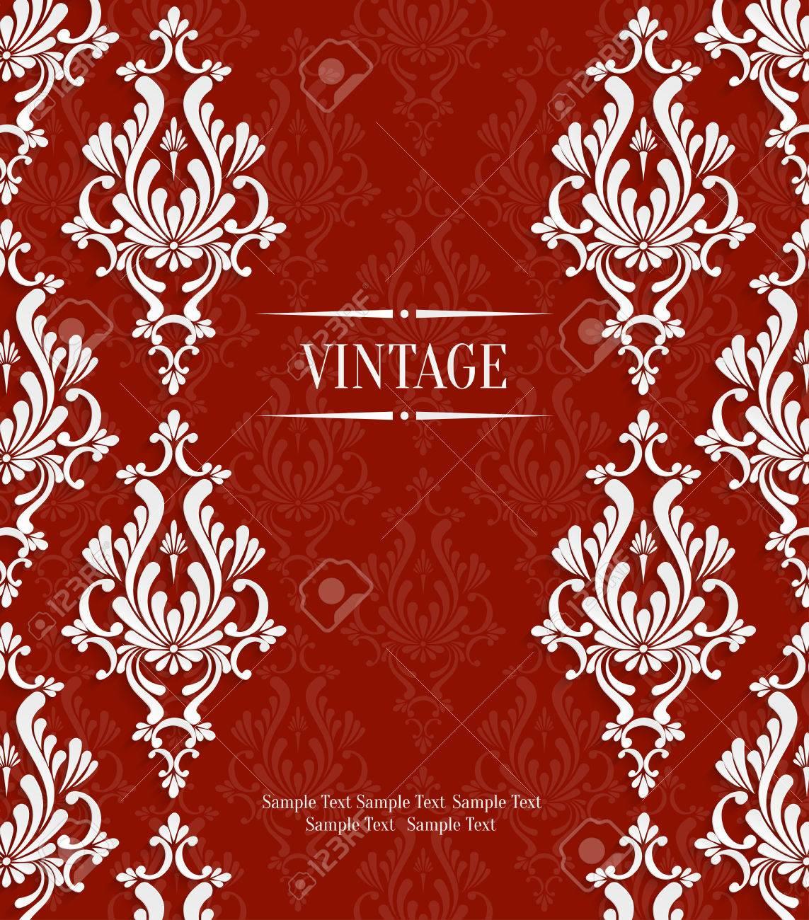 Grafik Red Vintage Hintergrund Mit 3D Blumen Damast Muster Vorlage Für