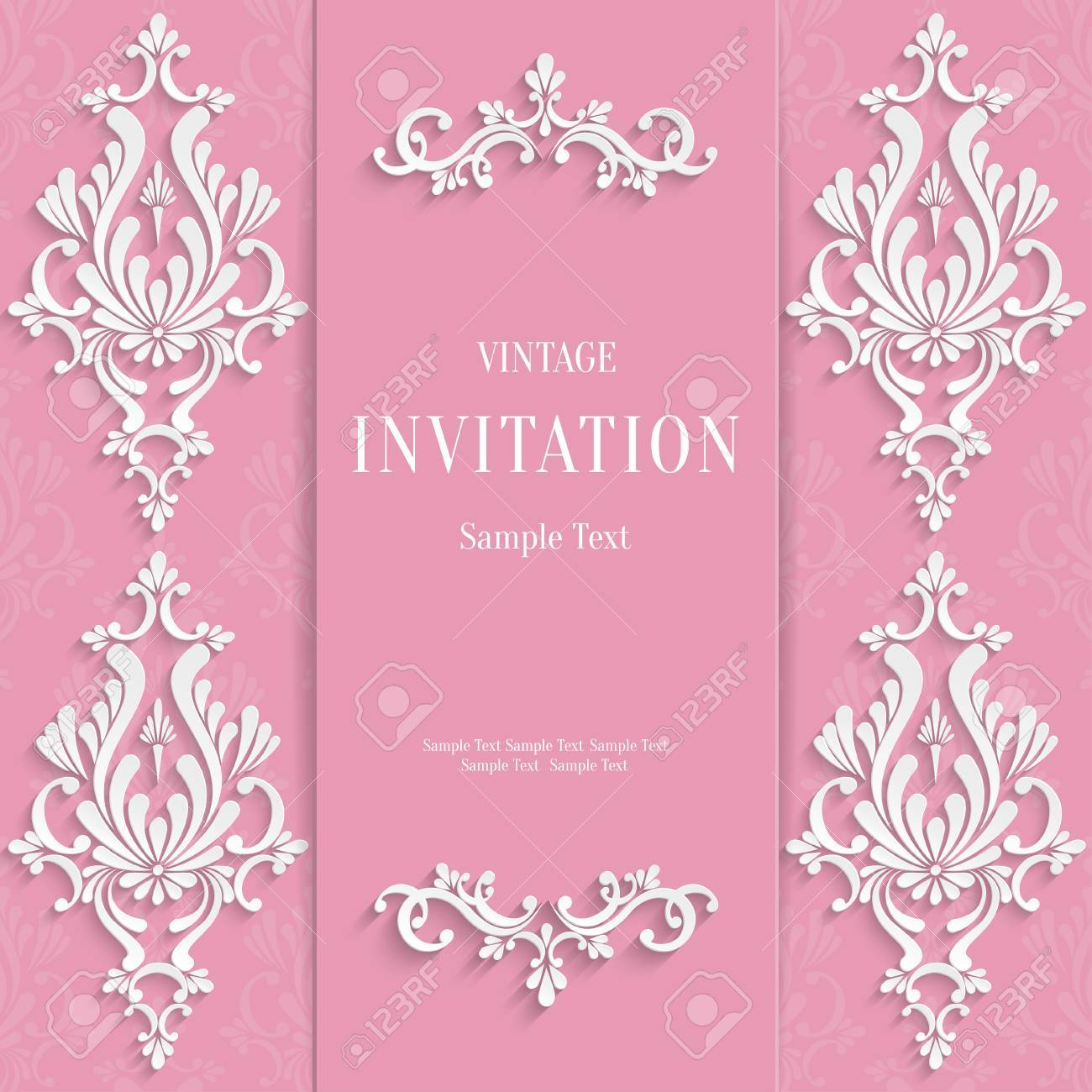 Vector Pink Wedding Vintage Invitation Card With 3d Floral Pattern