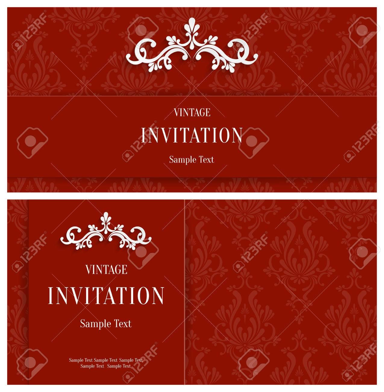 Vector Red 3d Floral Horizontal Tarjetas Conjunto, Navidad O ...