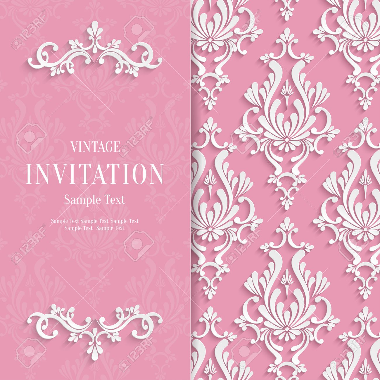 vector pink floral 3d wedding invitation background template royalty