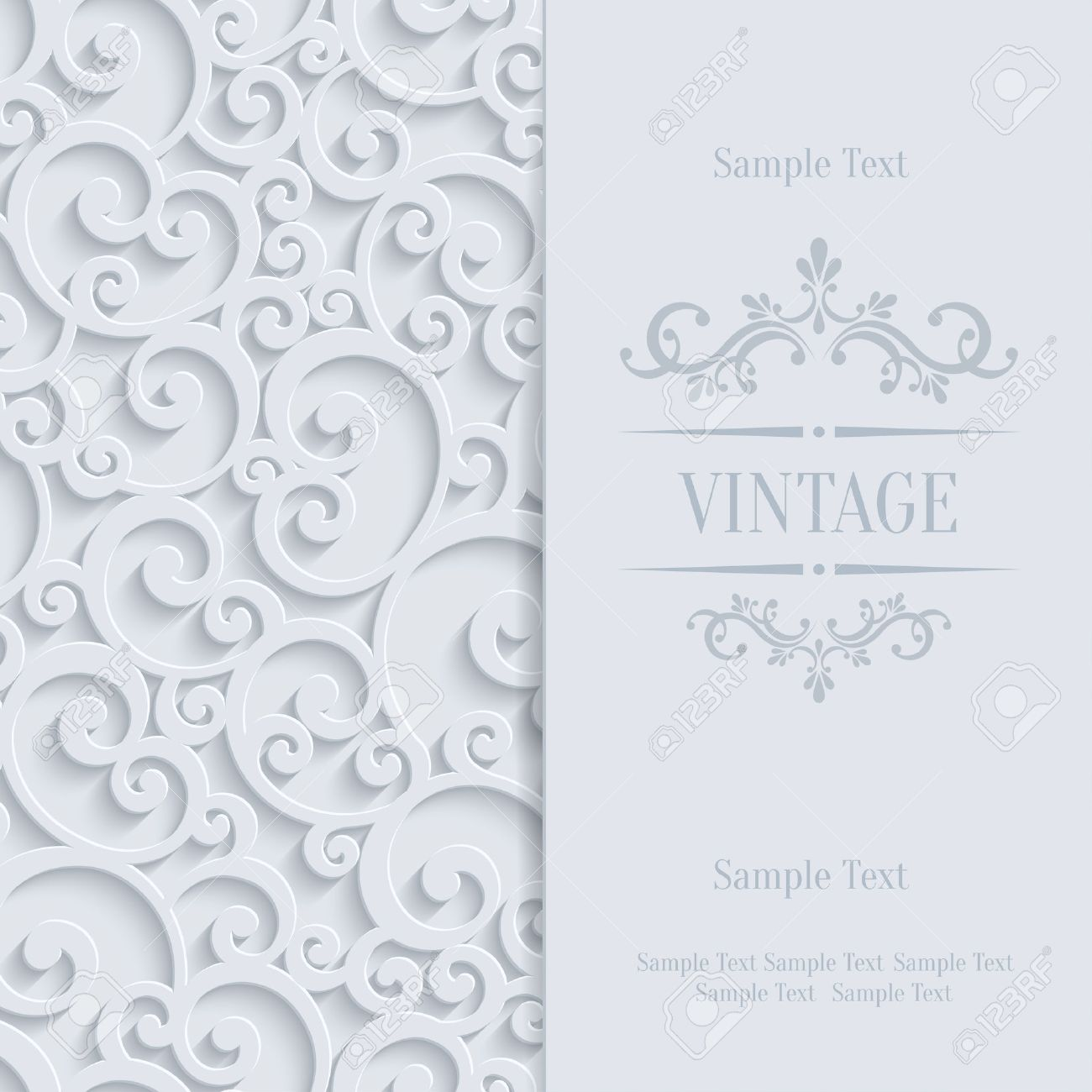 Floral swirl background with 3d curl damask pattern for wedding floral swirl background with 3d curl damask pattern for wedding or invitation card vector white stopboris Image collections