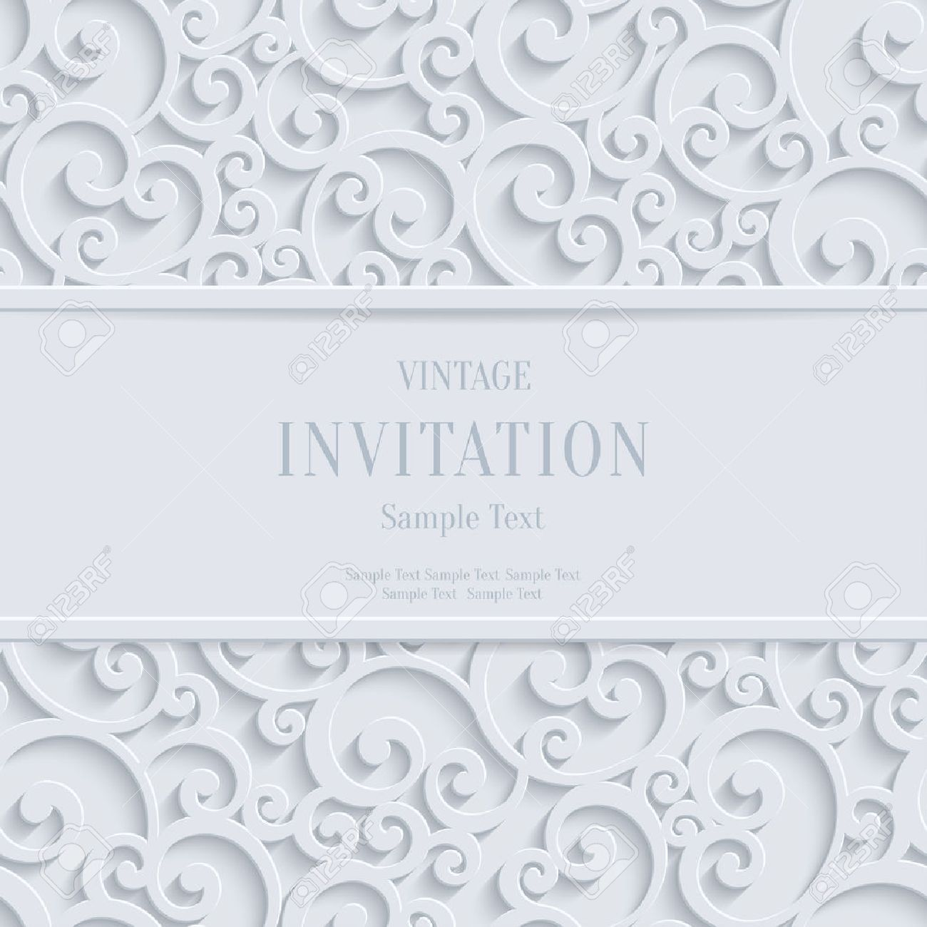 Floral Swirl Vector White 3d Christmas or Weddind Invitation Cards Background with Curl Damask Pattern - 42043670