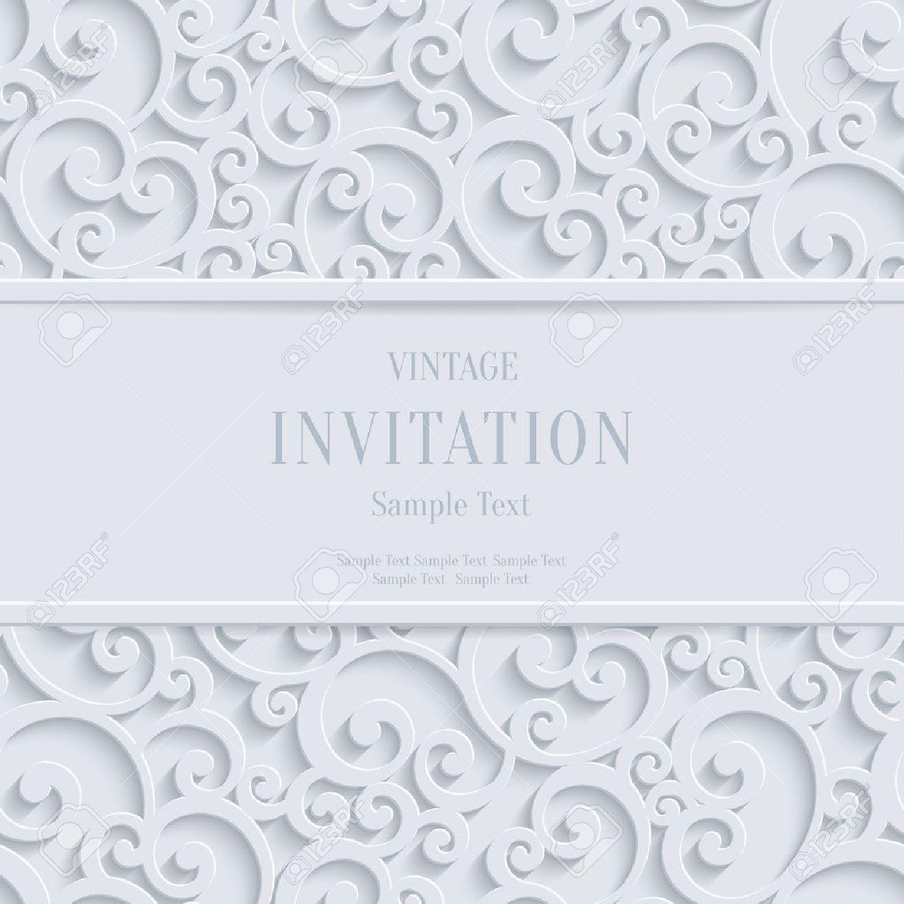 Remolino Floral Vector Blanco 3d Navidad O Invitación Para Boda Tarjetas De Fondo Con El Patrón De Rizo Damasco
