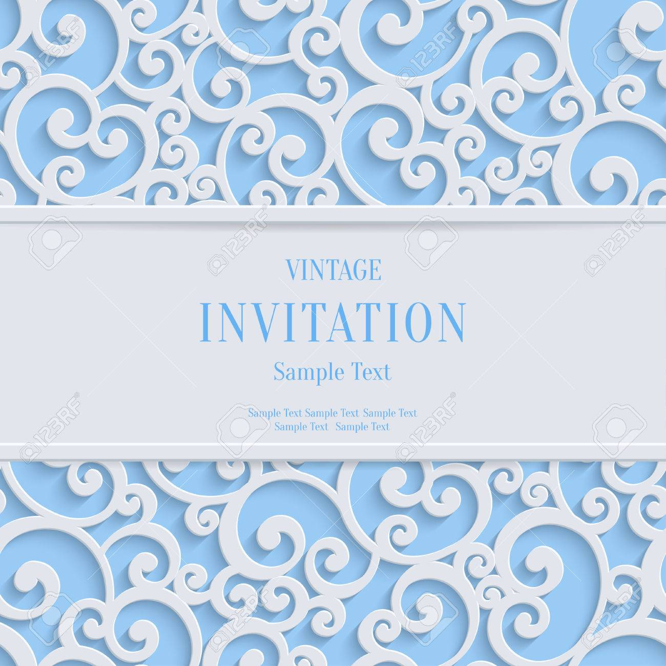 Floral swirl vector blue 3d christmas or weddind invitation floral swirl vector blue 3d christmas or weddind invitation cards background with curl damask pattern stock stopboris Images