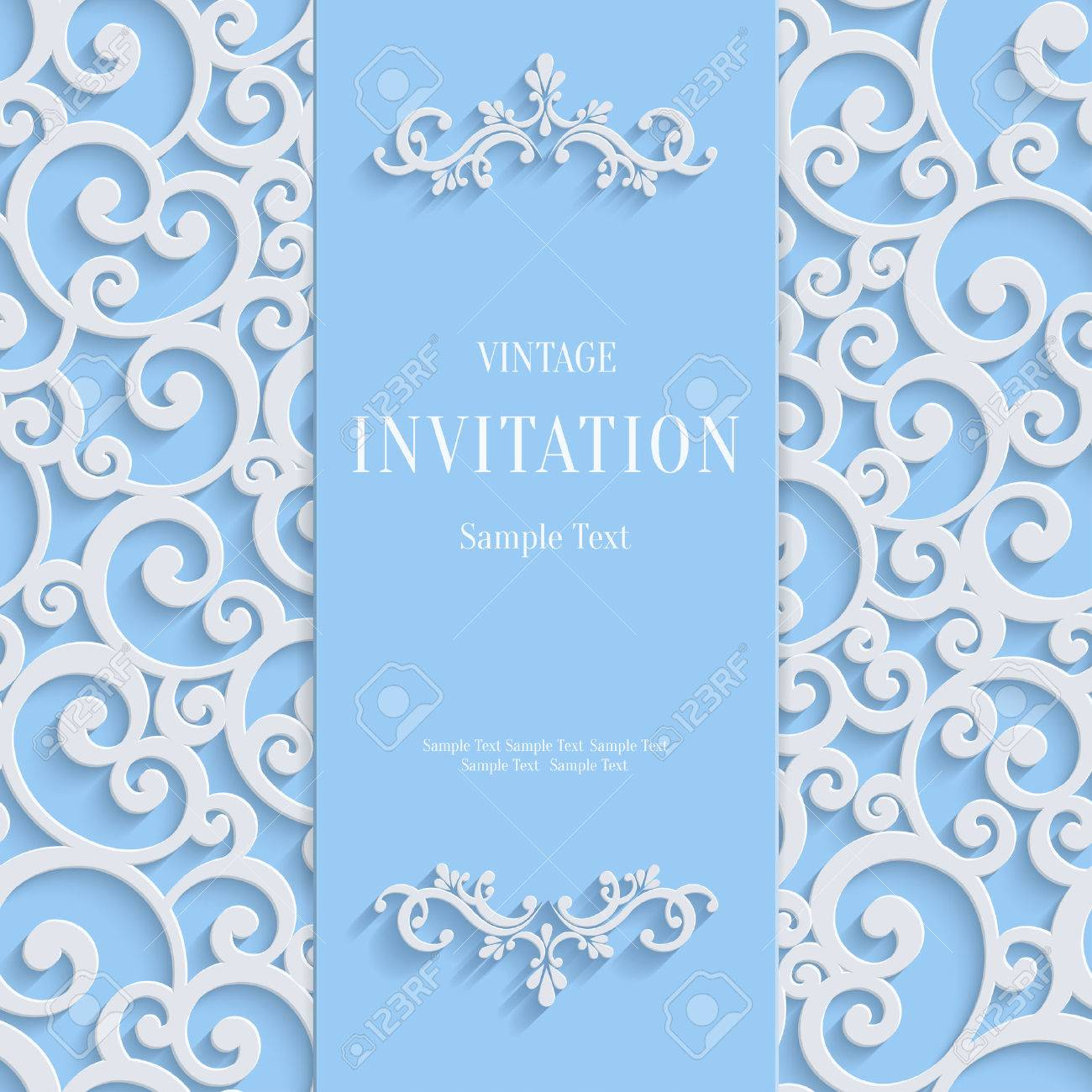 Blue 3d floral curl background with swirl damask pattern for vector vintage design template blue 3d floral curl background with swirl damask pattern for christmas or wedding or invitation card stopboris Images
