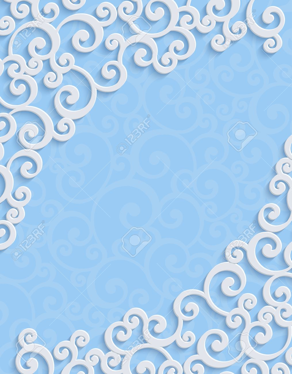 Blue 3d Floral Swirl Vertical Background With Curl Pattern For