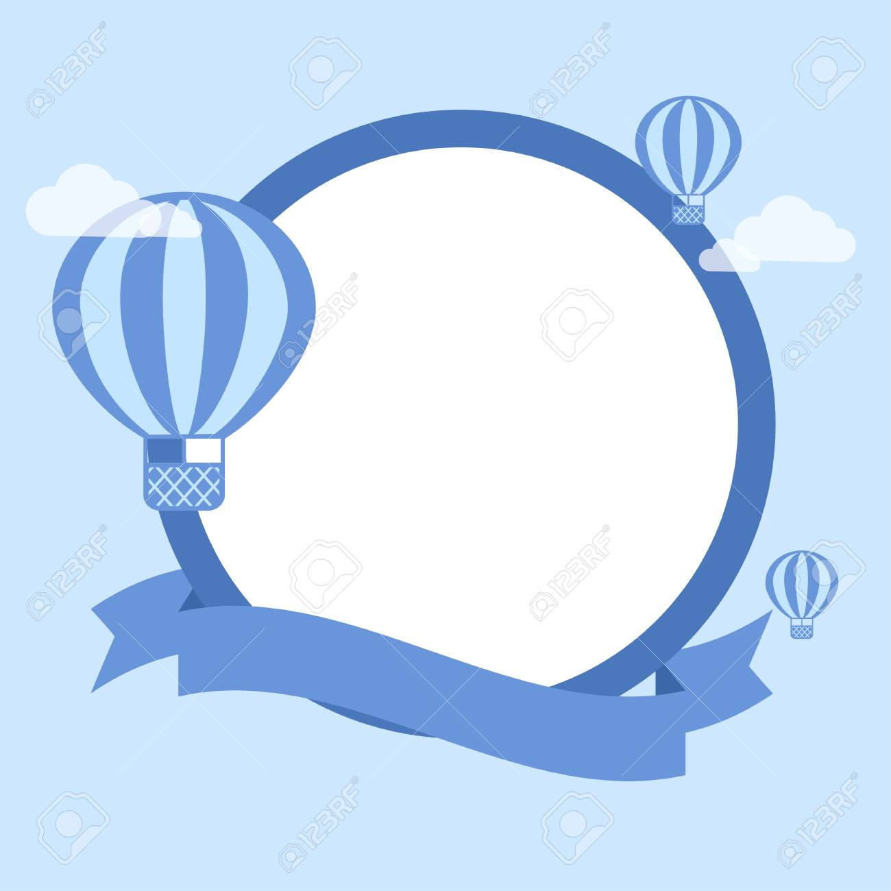 Cartoon Hot Air Balloon - Vector Background. Template For Greeting ...