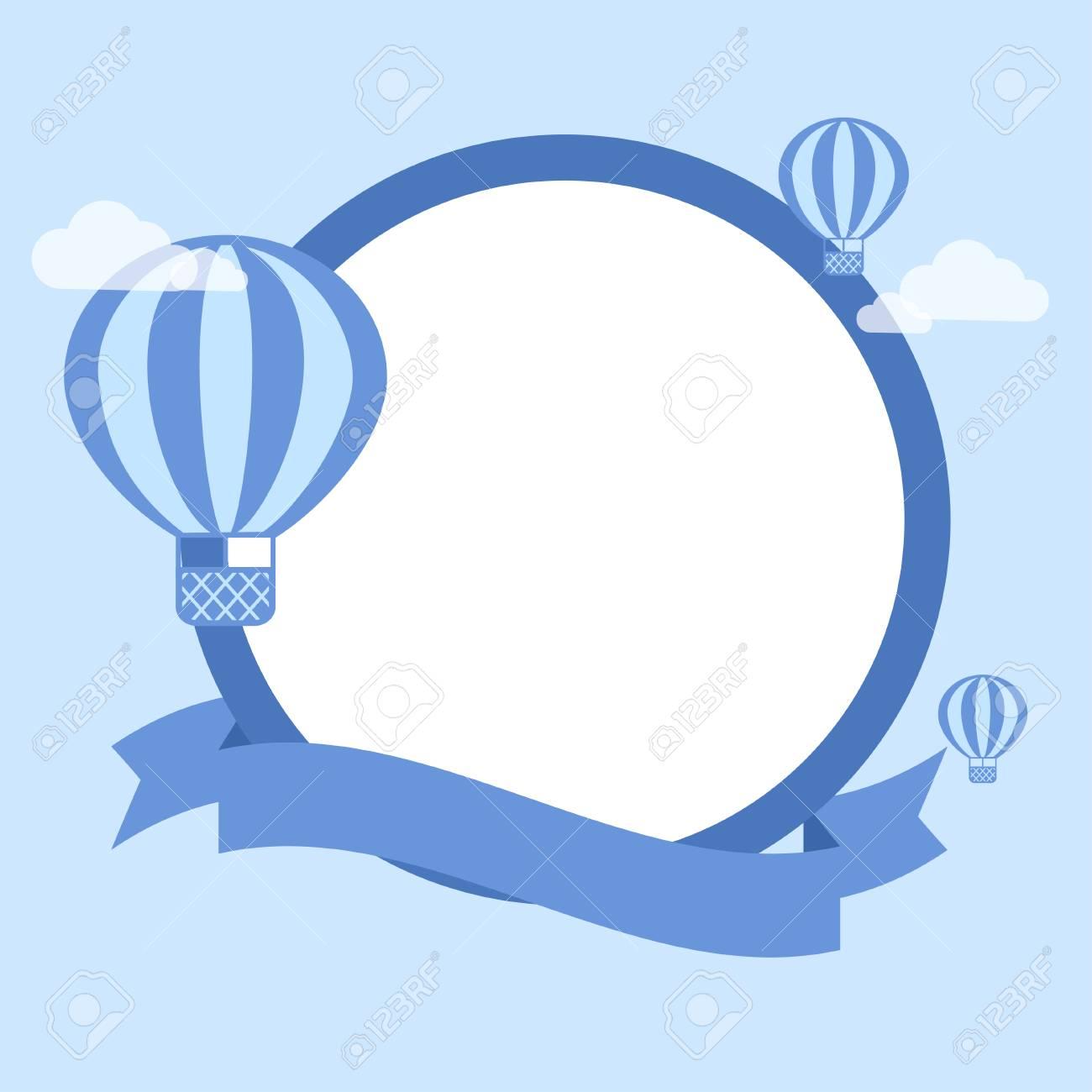 Air Balloon Template | Cartoon Hot Air Balloon Vector Background Template For Greeting