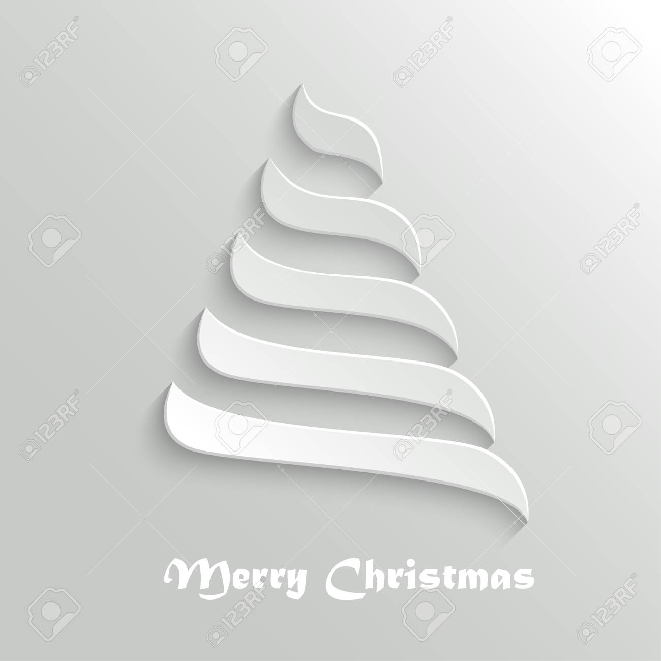 Christmas Tree 3d Abstract New Year Symbol Greeting Card Design