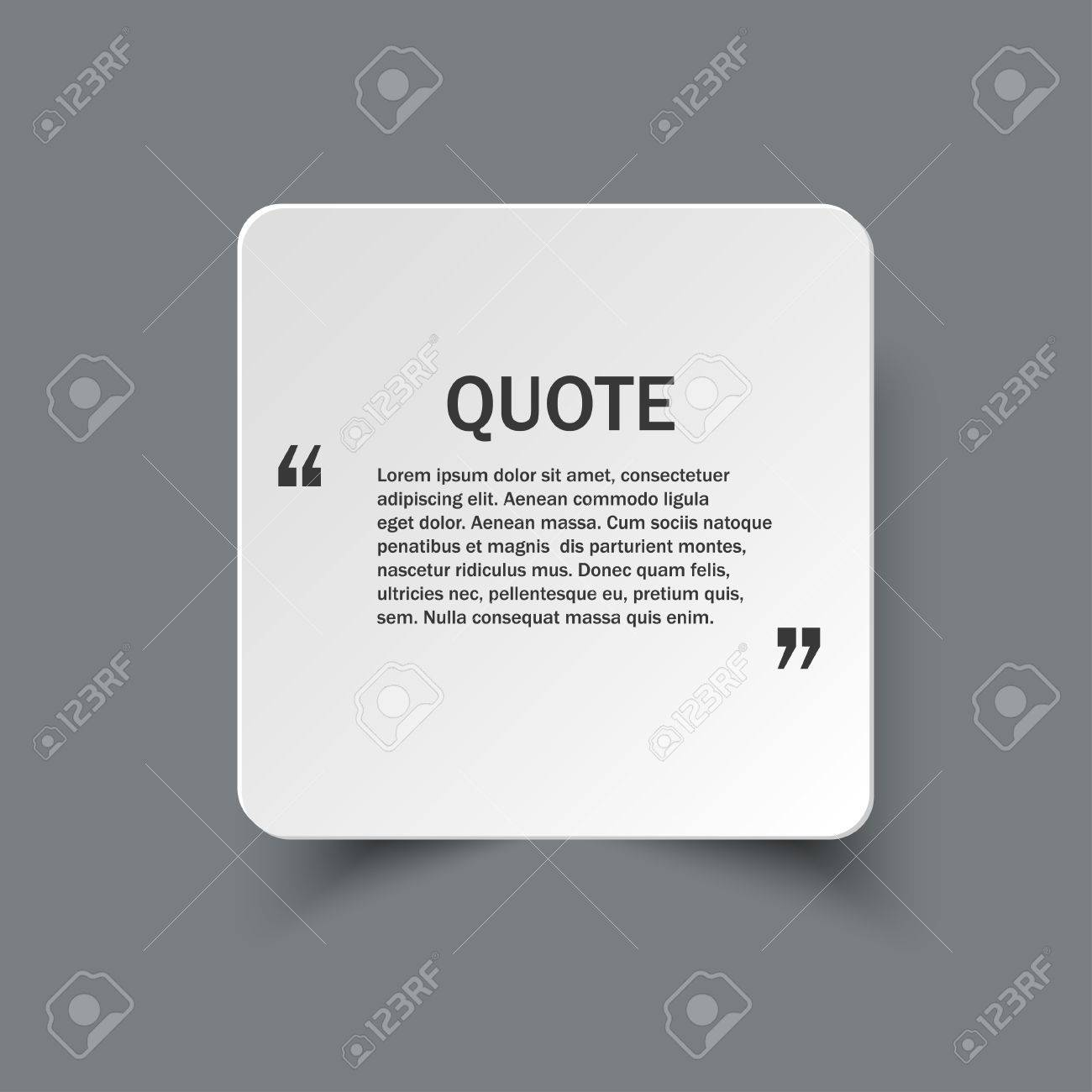 Quote Form On Square Paper Banner With Shadow, Design Template ...