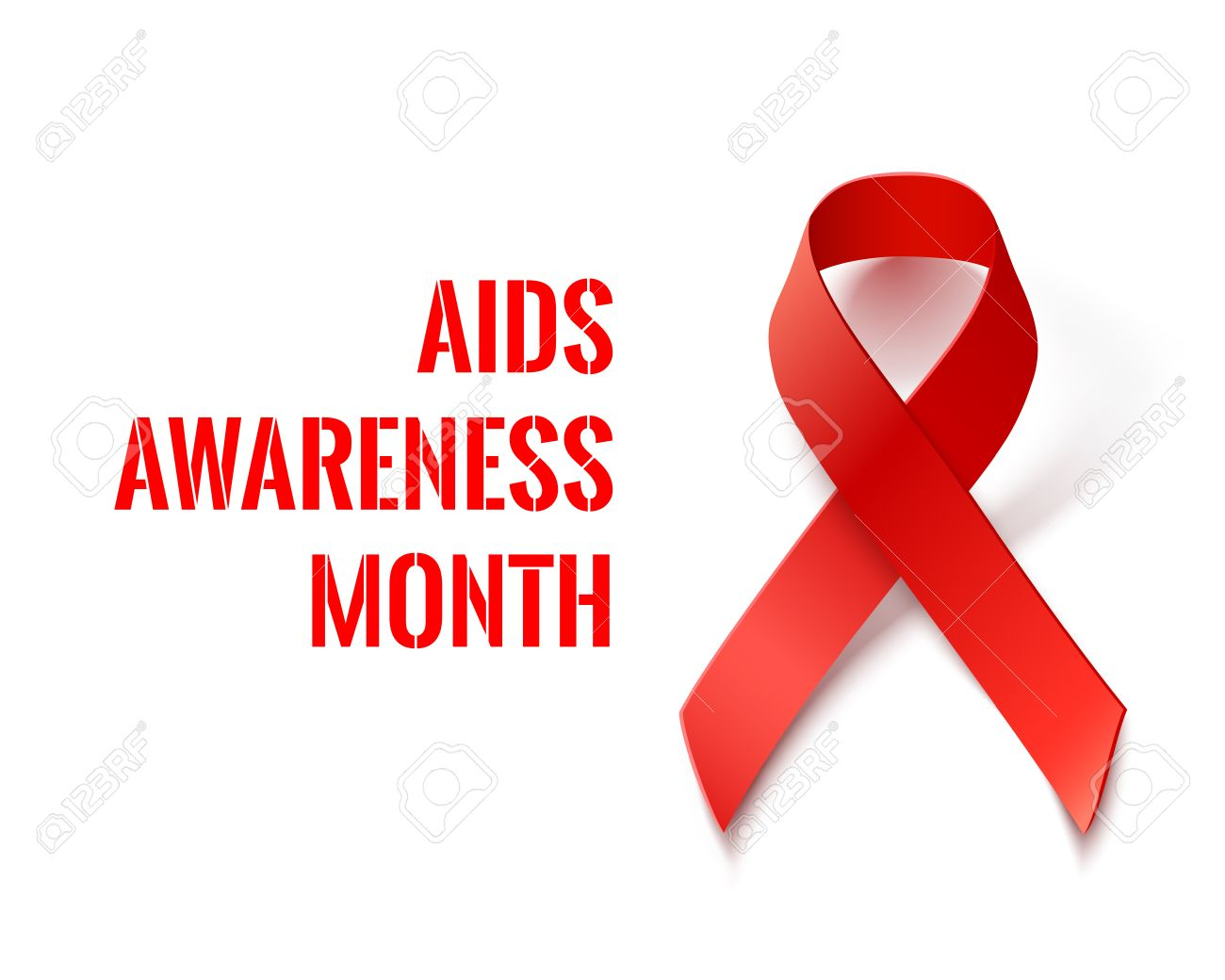 Aids Awareness Month Vector Banner With Red Ribbon Aids And
