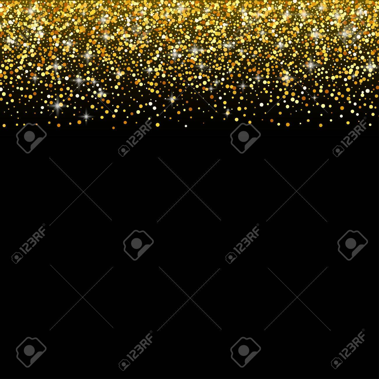 vector black background with gold glitter sparkle greeting card