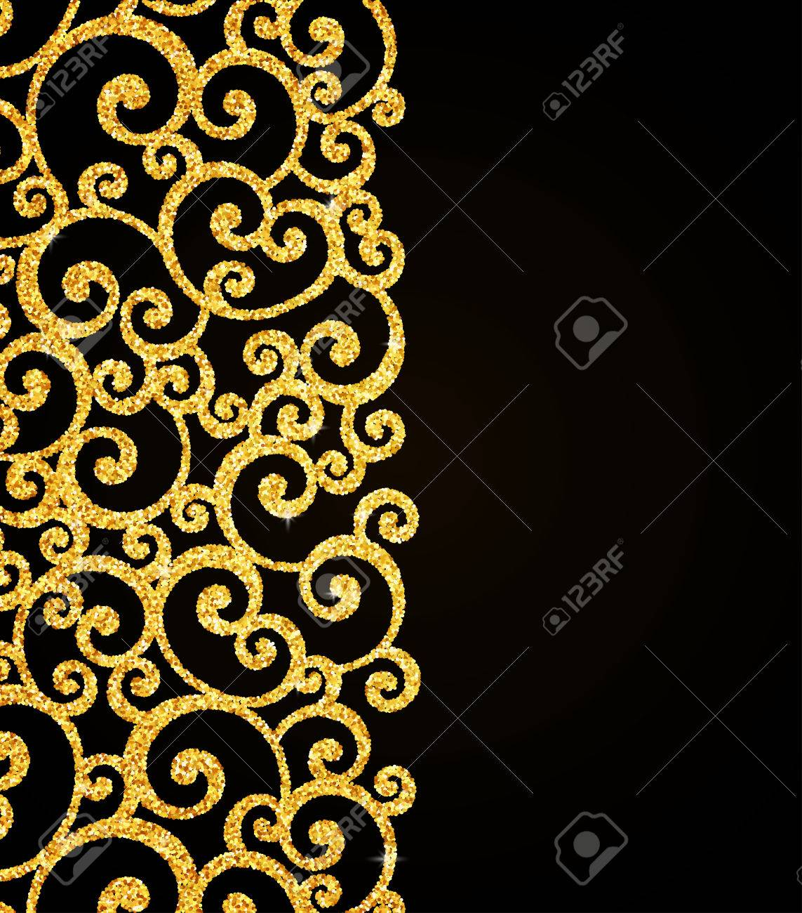 Vector gold glitter floral curl invitation card with swirl damask vector gold glitter floral curl invitation card with swirl damask pattern on black background stock vector stopboris Images