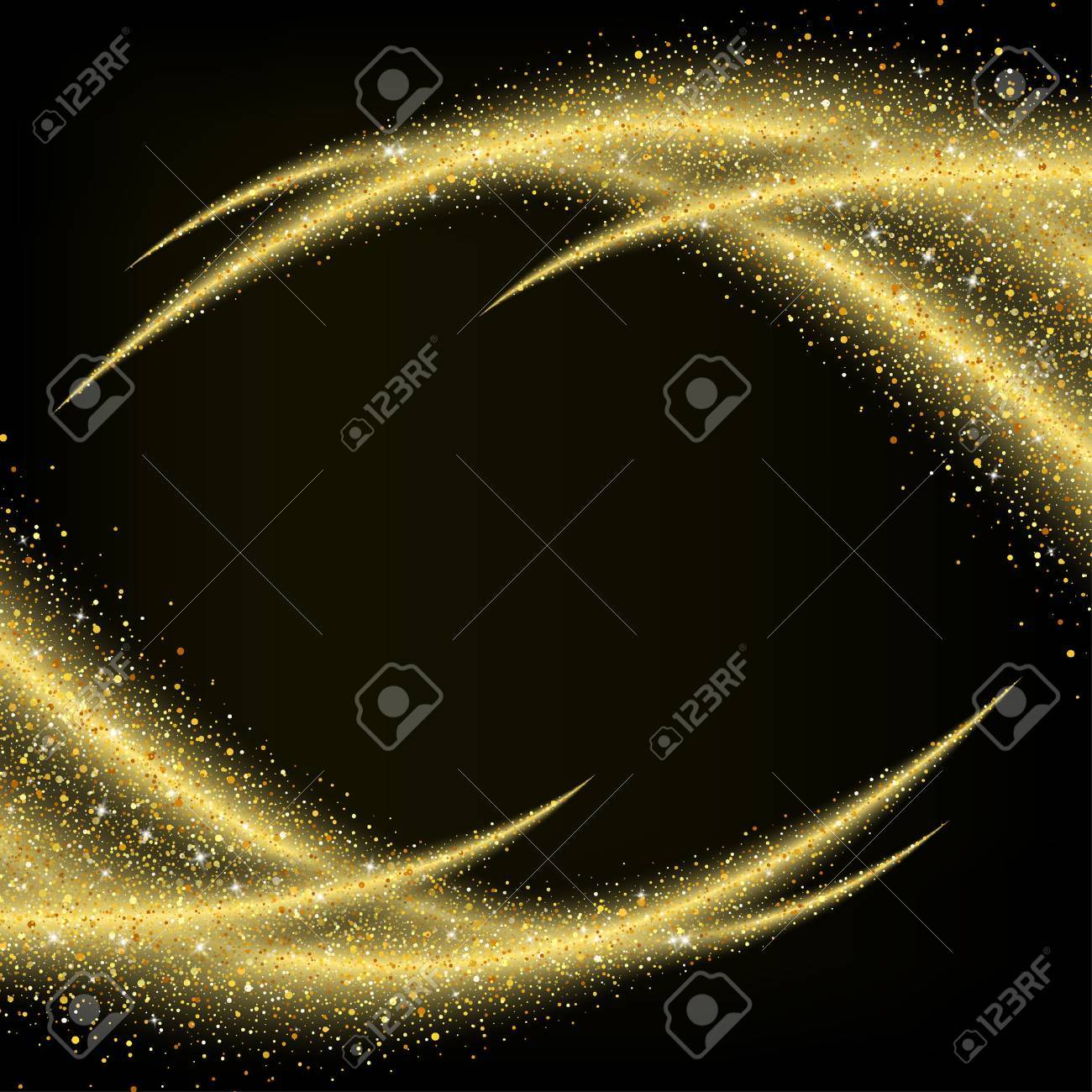 Abstract gold dust glitter star wave background, design template - 49599252