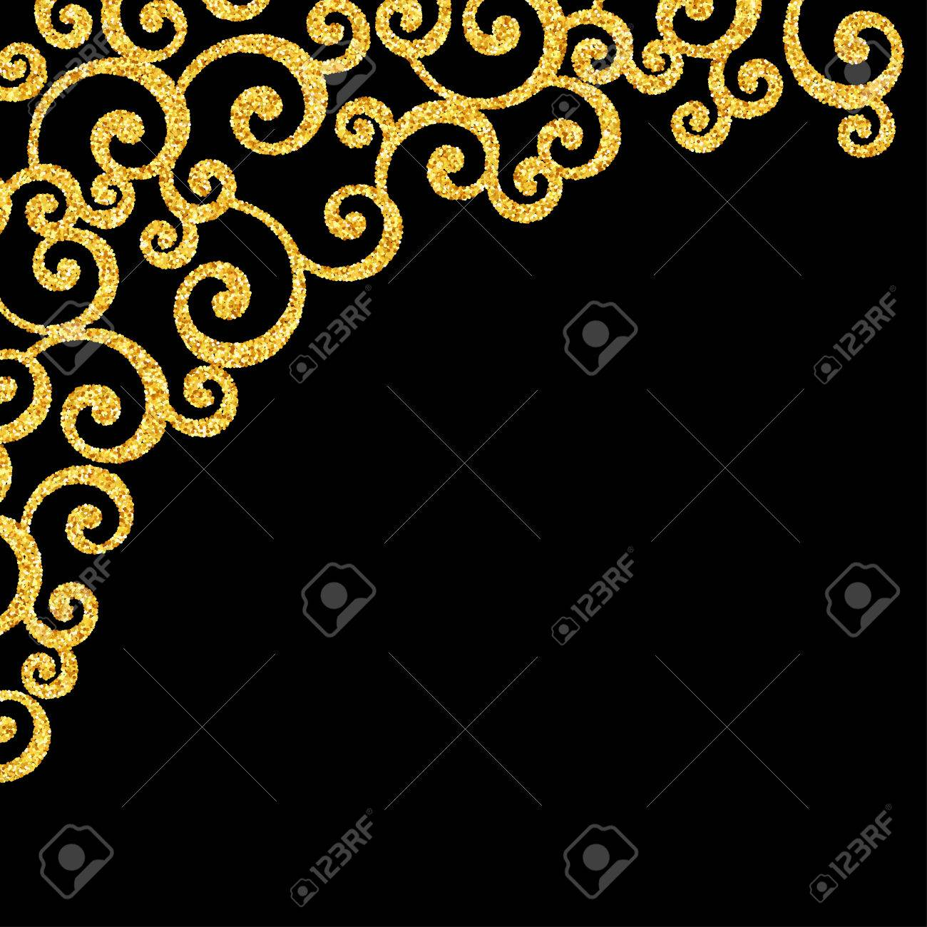 Gold glitter floral curl invitation card with swirl damask pattern gold glitter floral curl invitation card with swirl damask pattern on black background stock vector stopboris