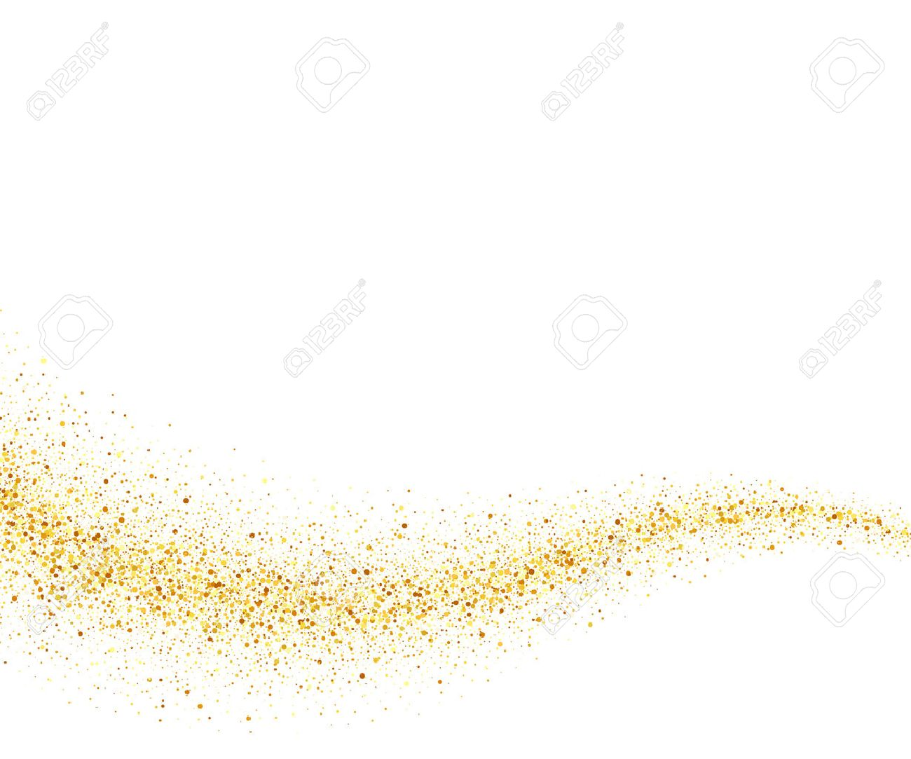 Vector gold glitter wave abstract background, golden sparkles on white background, vip design template - 50855379