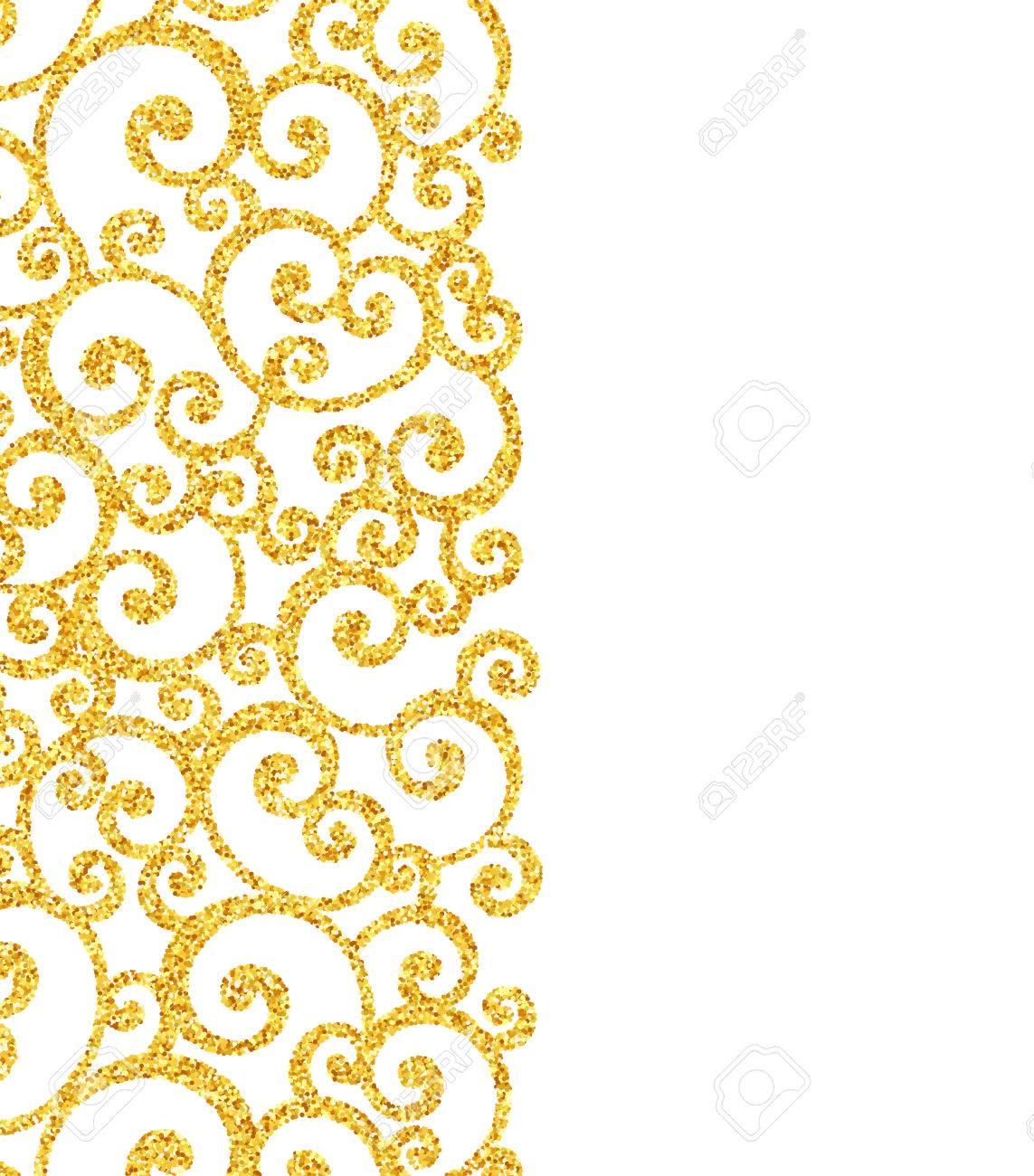 vector gold glitter swirl pattern golden sparkles on white