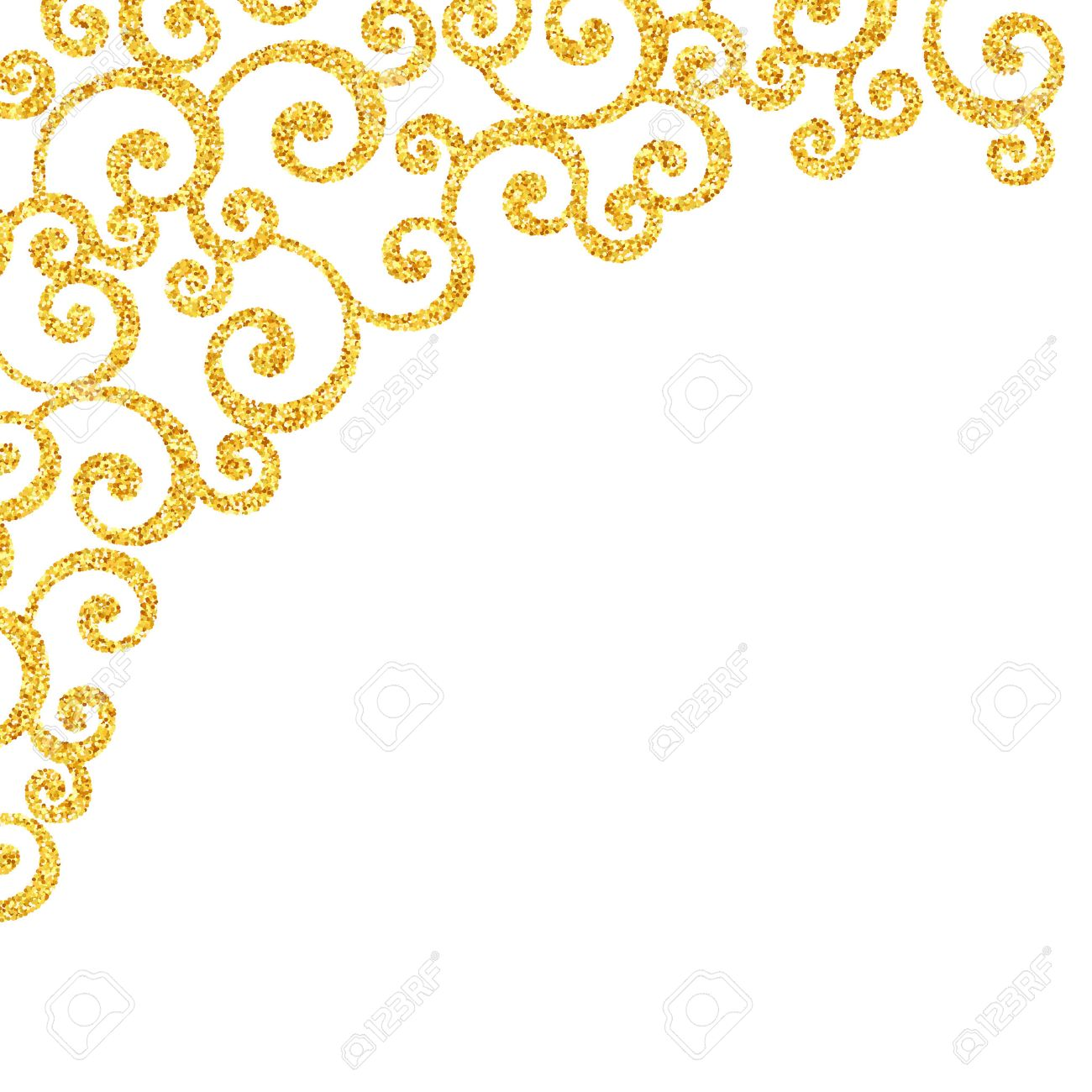 vector gold glitter swirl pattern golden sparkles on white