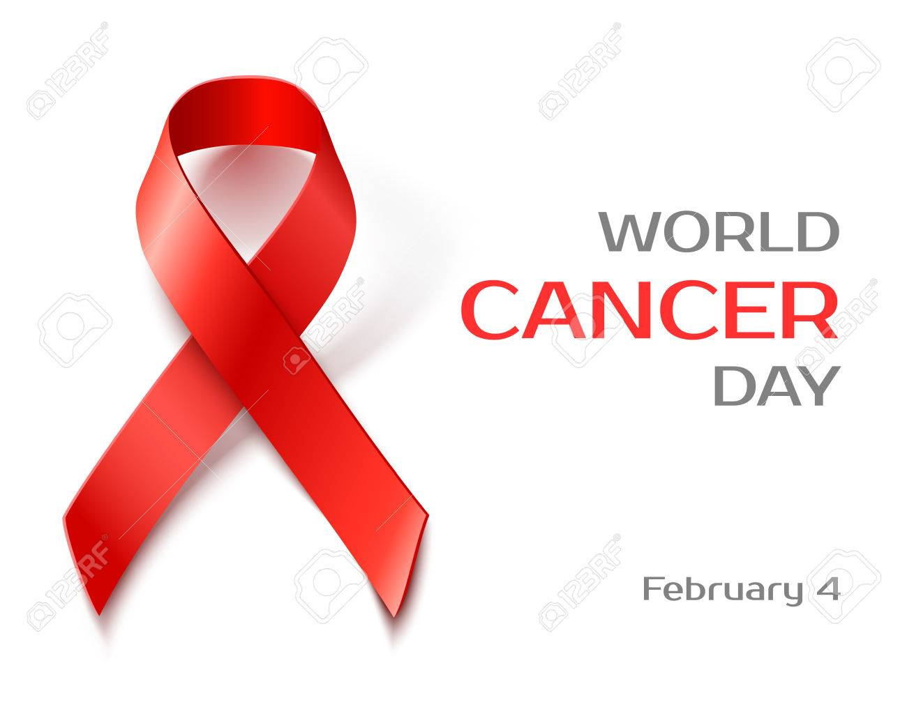 5dc4c94ed89 Awareness World Cancer Day background with red ribbon, vector illustration  Stock Vector - 50855477