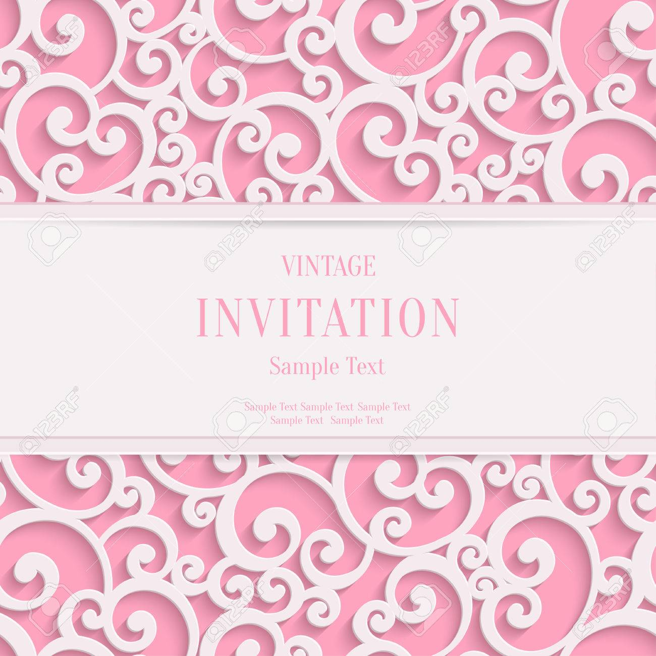 Vector Swirl Pink 3d Valentines or Wedding Invitation Cards Background with Curl Damask Pattern - 50855481
