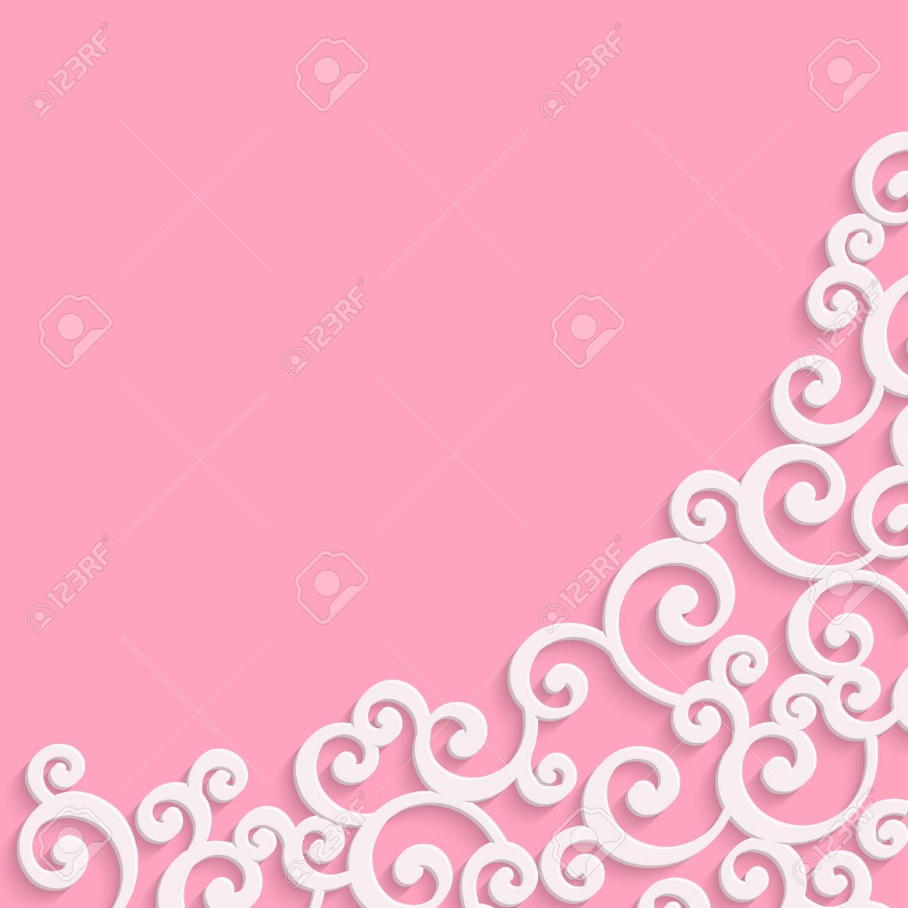 pink 3d floral swirl background with curl pattern. abstract vector