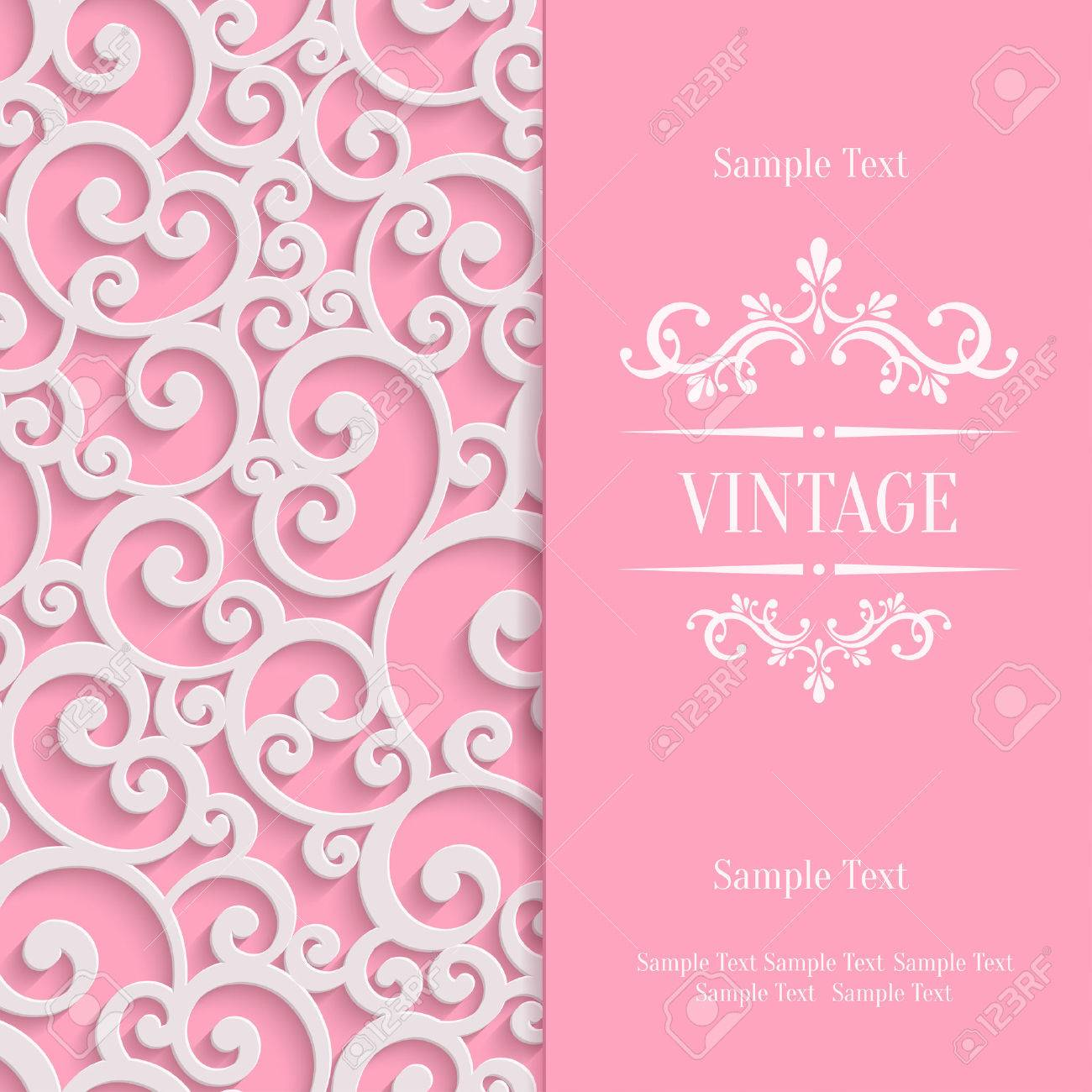Pink 3d swirl valentines day card with floral curl pattern pink 3d swirl valentines day card with floral curl pattern invitation vector template background stock stopboris Choice Image