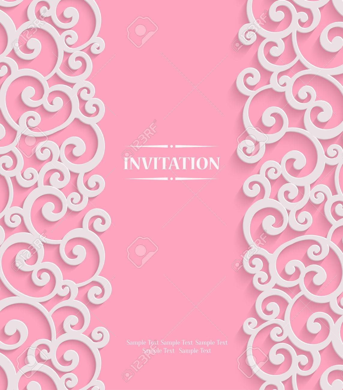 Pink 3d swirl valentines day card with floral curl pattern pink 3d swirl valentines day card with floral curl pattern invitation vector template background stock stopboris Gallery