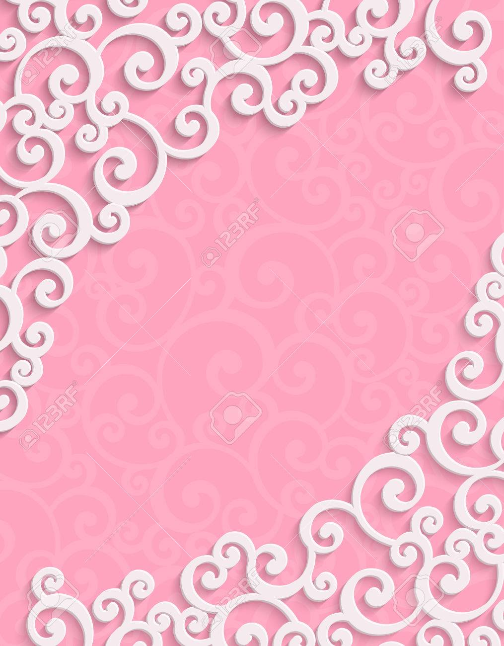 Pink 3d floral swirl vertical background with curl pattern for pink 3d floral swirl vertical background with curl pattern for valentines day or wedding invitation card stopboris Choice Image