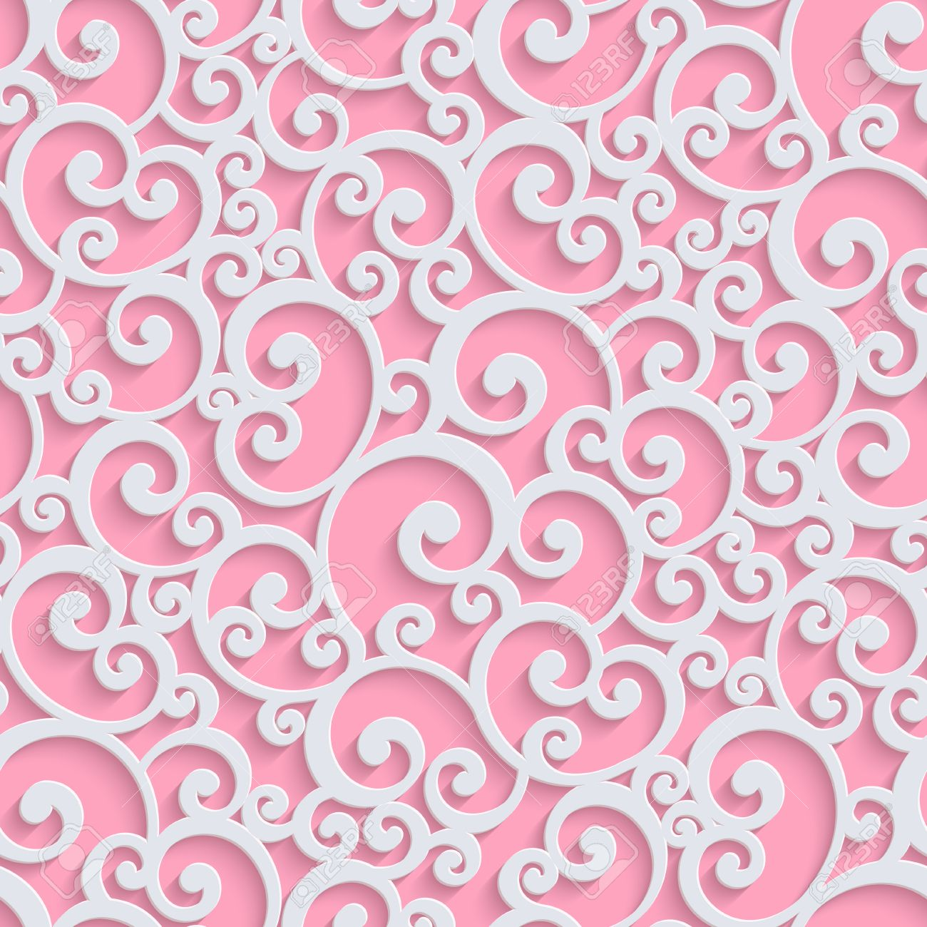 pink floral 3d seamless pattern background. vector curl decoration