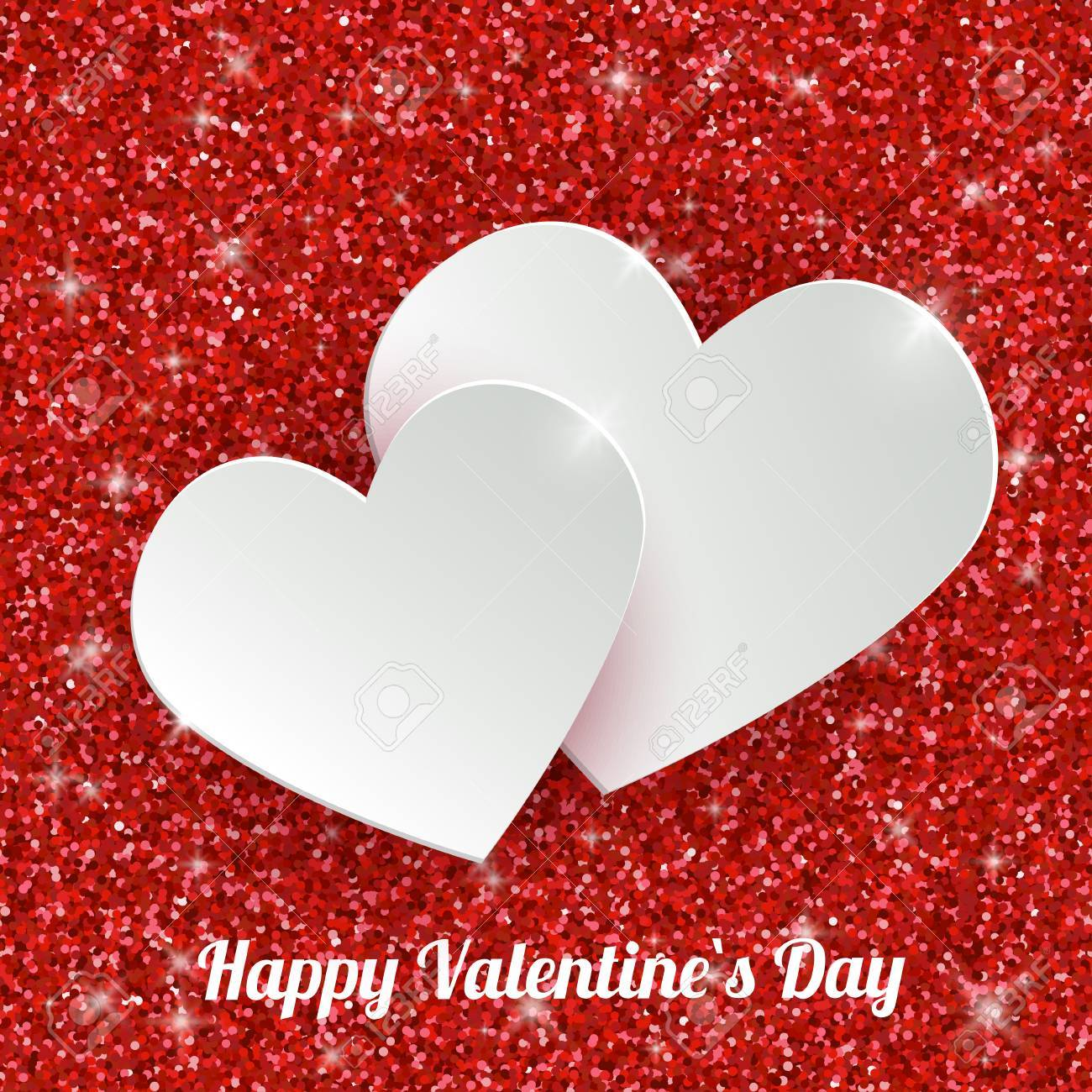 Happy Valentines Day Greeting Card With 3d White Paper Hearts