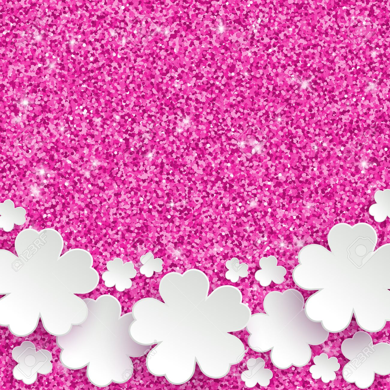 Happy Mothers Day or international womens day or Easter greeting card, holiday glitter dust sparkle pink background with white paper flowers, vector illustration with place for text - 52522751
