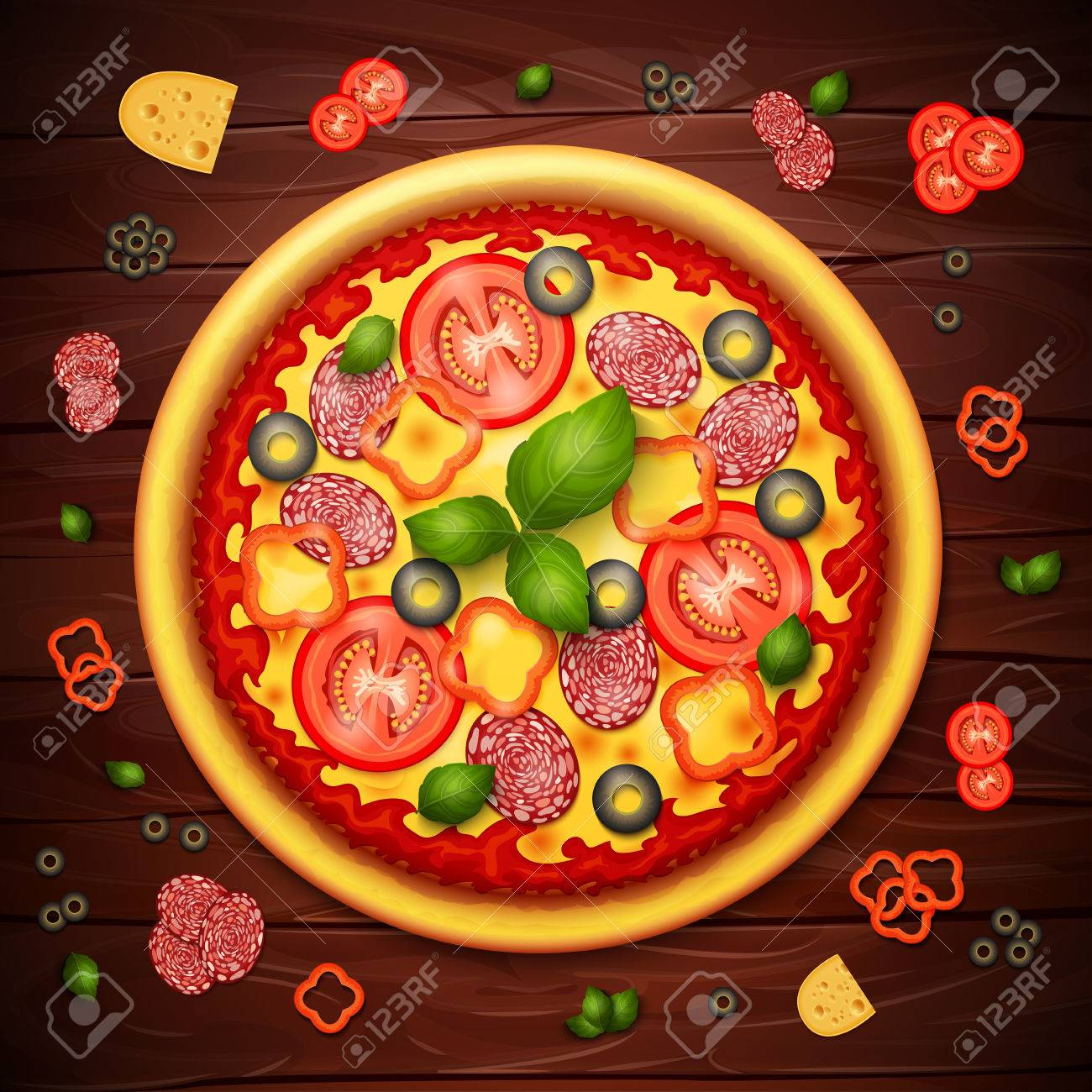 Realistic Vector Pizza Recipe Or Menu Wood Background With Tomatoes And Pepperoni On Wooden