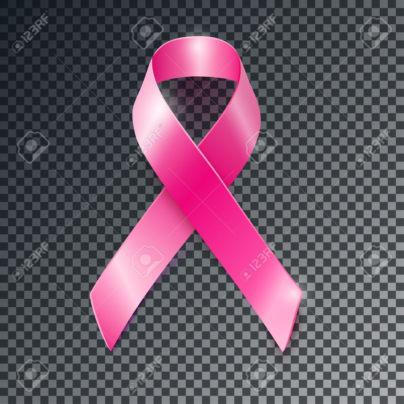 Realistic Vector Pink Ribbon Breast Cancer Awareness Symbol